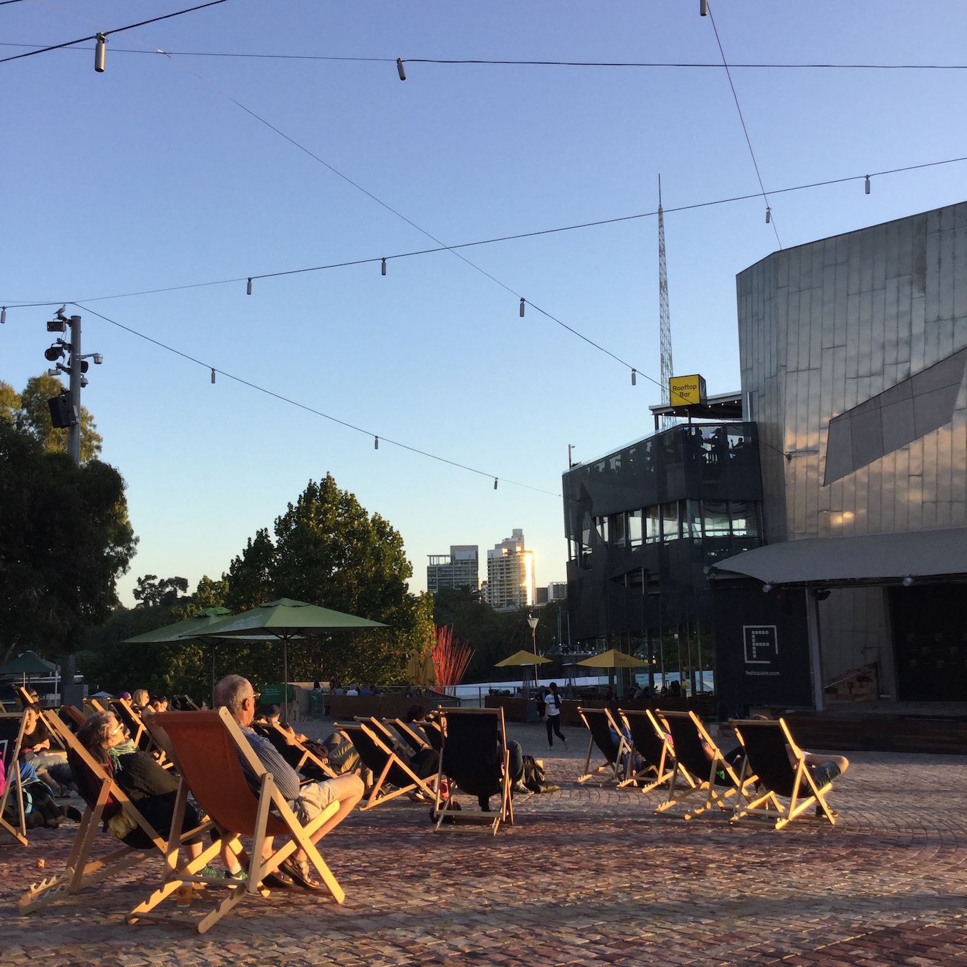 Deck chairs at Federation Square, Melbourne