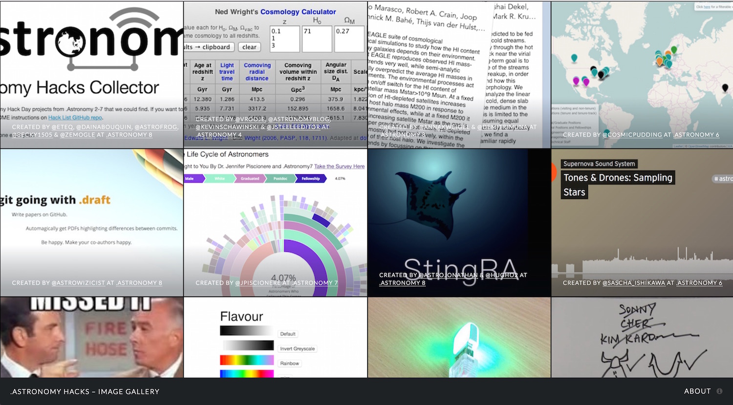 Screenshot of the .Astronomy Hacks – Image Gallery (click through to website)