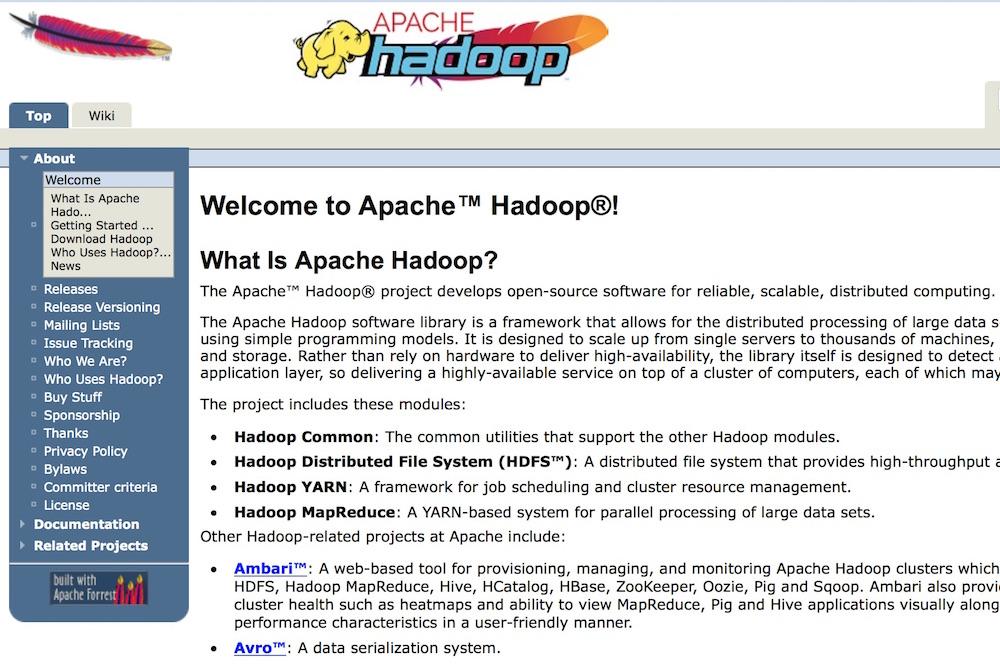 Screenshot of the Apache Hadoop website