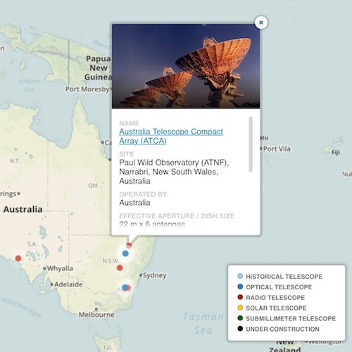 Interactive Map of Optical & Radio Telescopes - A visualisation built using the Carto mapping platform. Also uses Google Spreadsheets, SQL & custom CSS