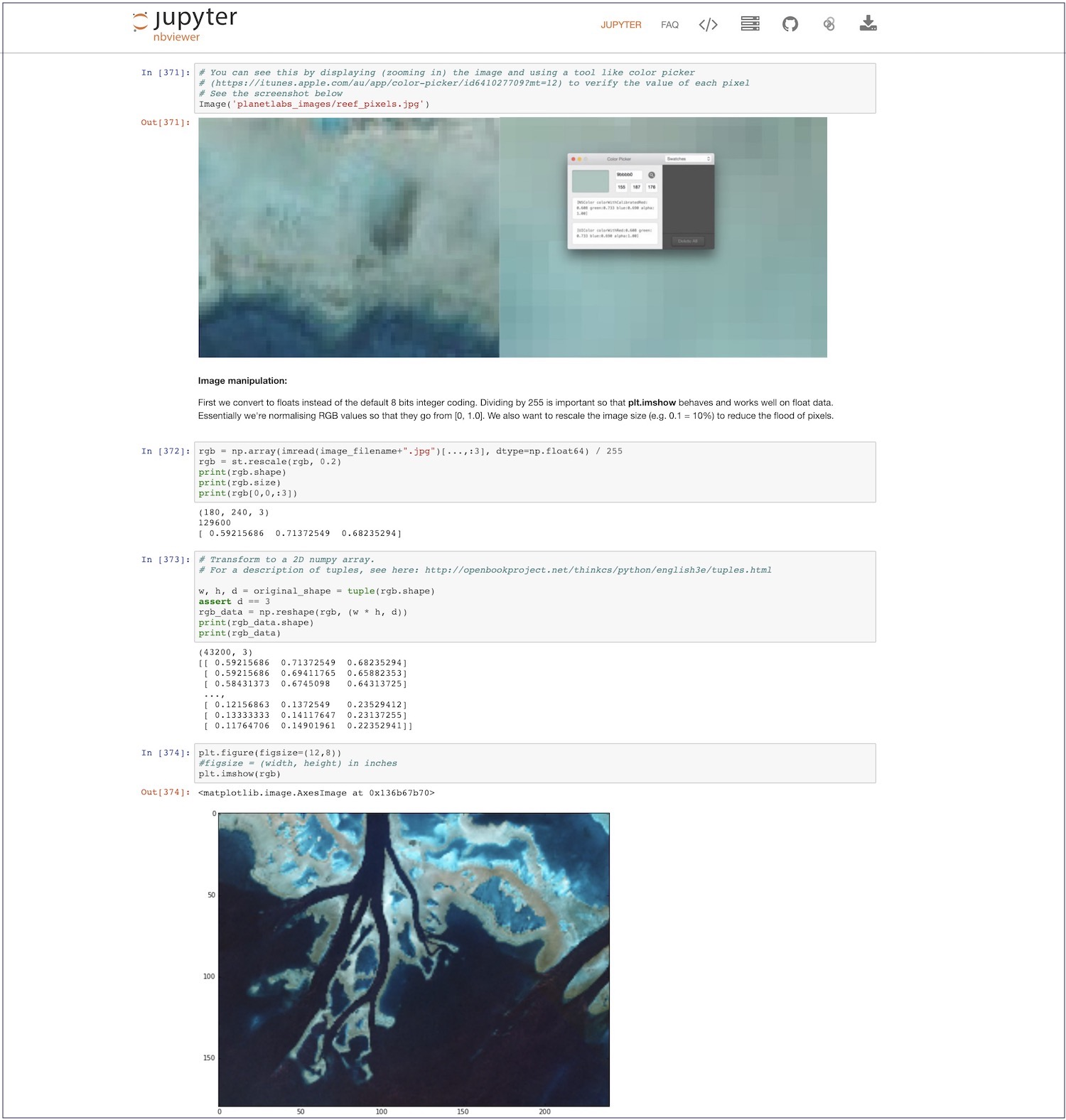 Jupyter Notebook rendered in nbviewer
