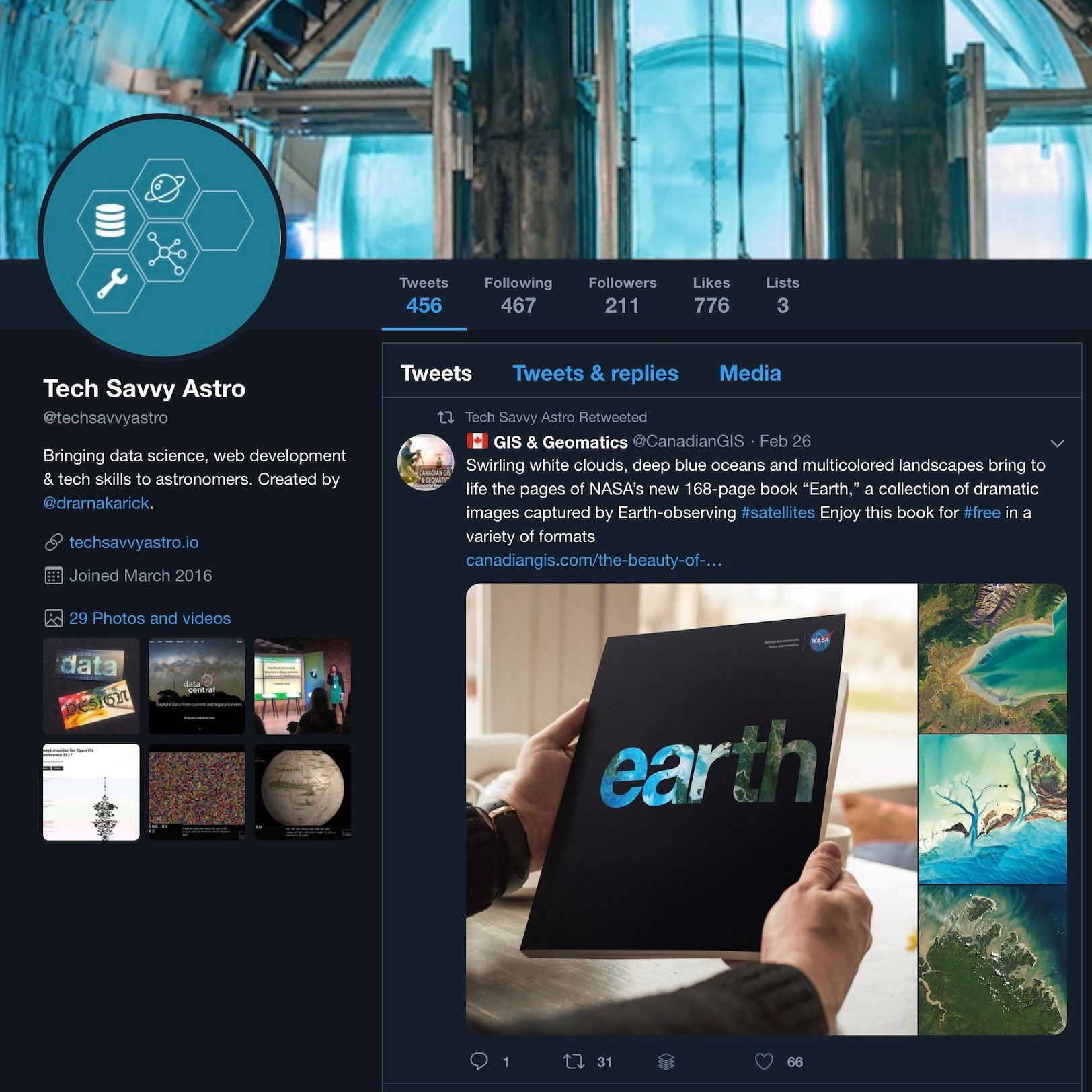 The  @techsavvyastro  Twitter feed also includes several lists; ex-astronomers now working in the tech industry, a selection of clever and quirky Twitterbots created by the  .Astronomy  ( @dotastronomy ) community, and astronomers building software applications and tools.