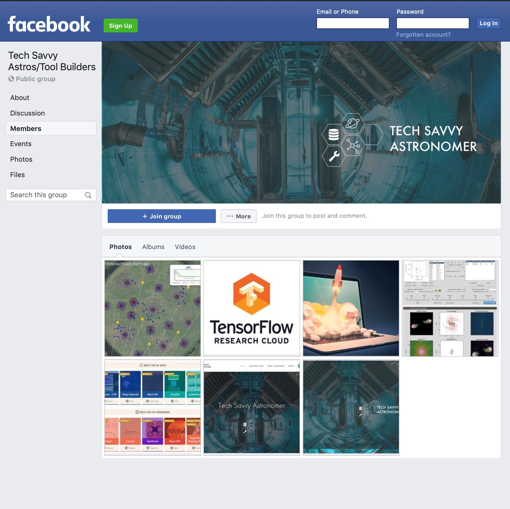 The  Tech Savvy Astros/Tool Builders  Facebook group provides a forum for discussions around community developed tools for astrophysics research (and scientific research more broadly), useful tools for transitioning into data science and tech, web development and outreach tools, tech skills training, emerging technologies, astronomy start-ups, and freelance work.