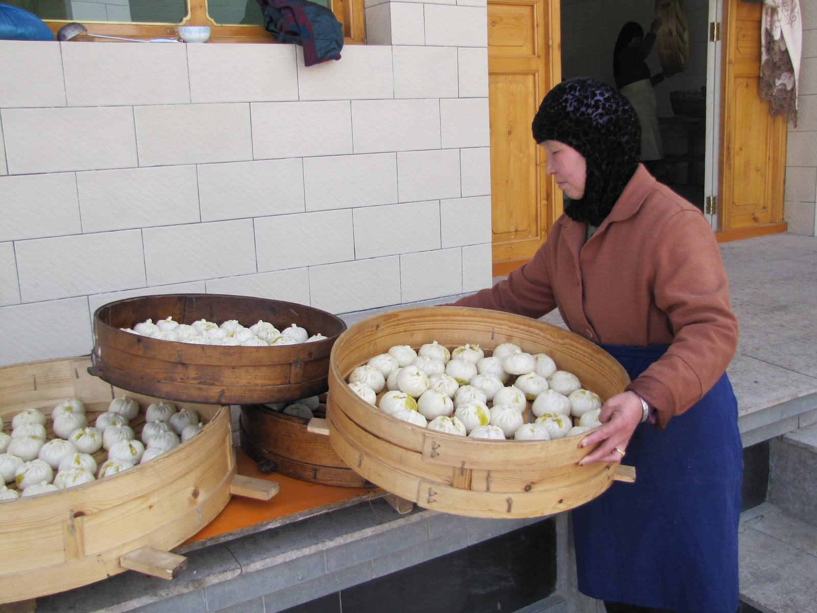 Preparing baozi buns for the festival