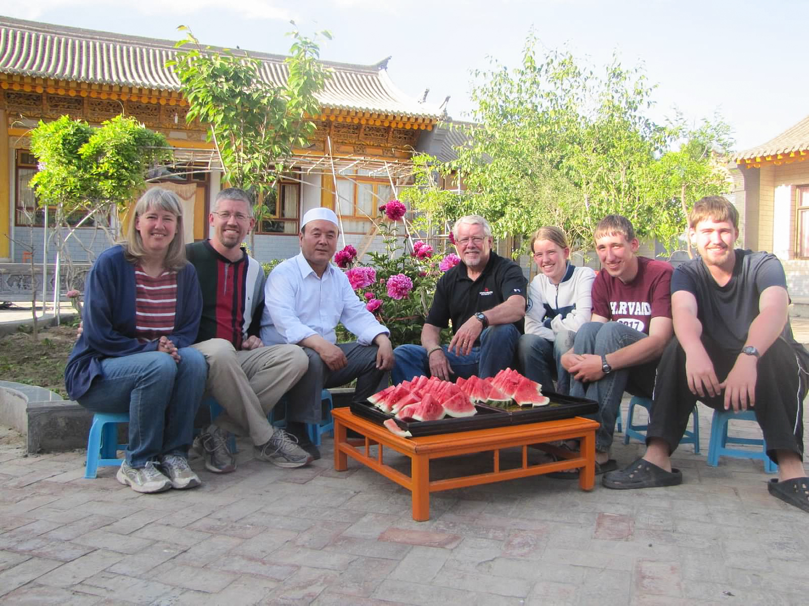 Eating watermelon with our host in the courtyard of his home while Jodie's dad was visiting