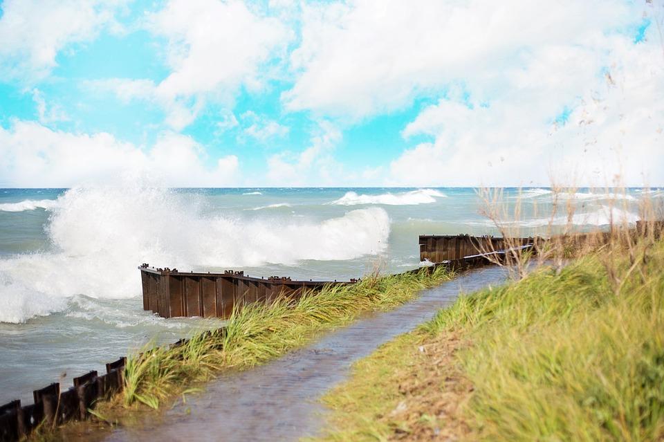 Waves crashing on the shore of Lake Michigan