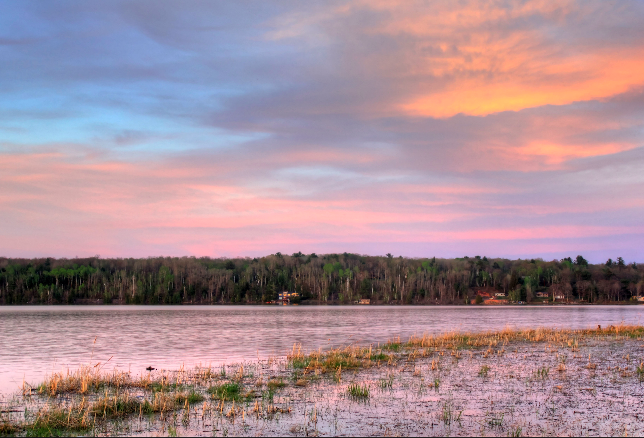 Red Dusk Over the River in the Upper Peninsula, Michigan