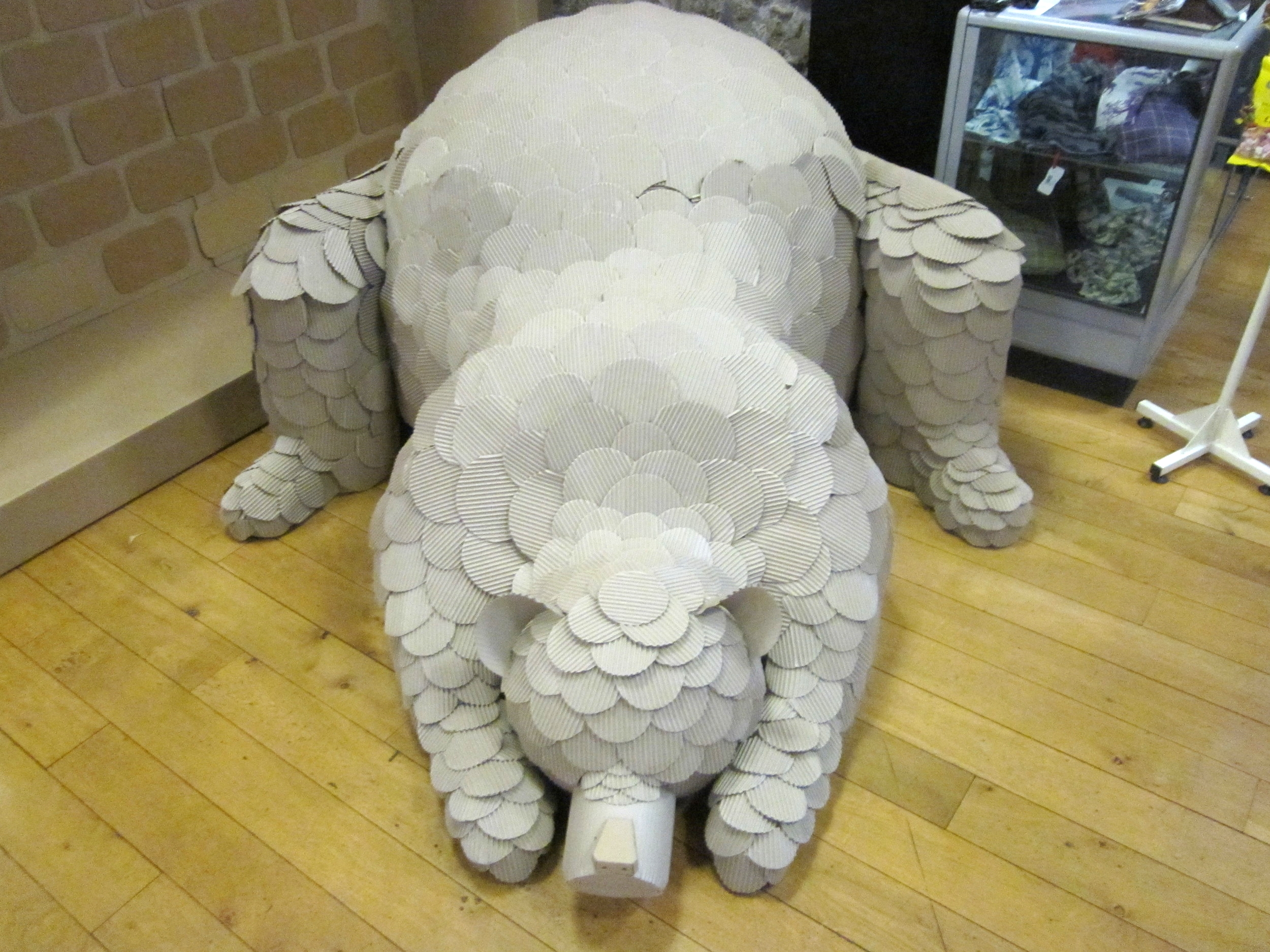 A life-sized polar bear sculpture made entirely from cardboard, the sculpture was part of an installation for Gateshead councils winter festival 2015