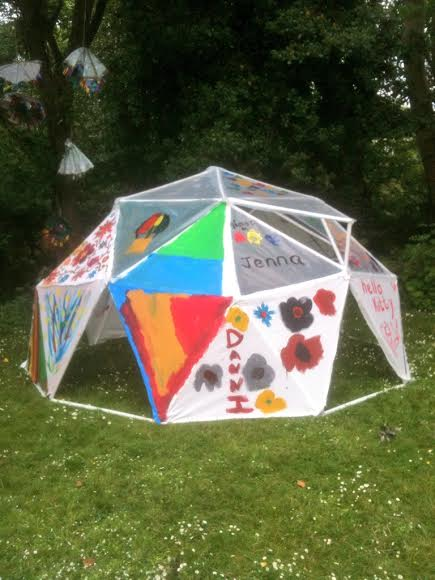 The outcome of a participatory arts project working with NE Autism, the structure is a geodesic dome built and decorated by the students of Thornhill Park school in Sunderland