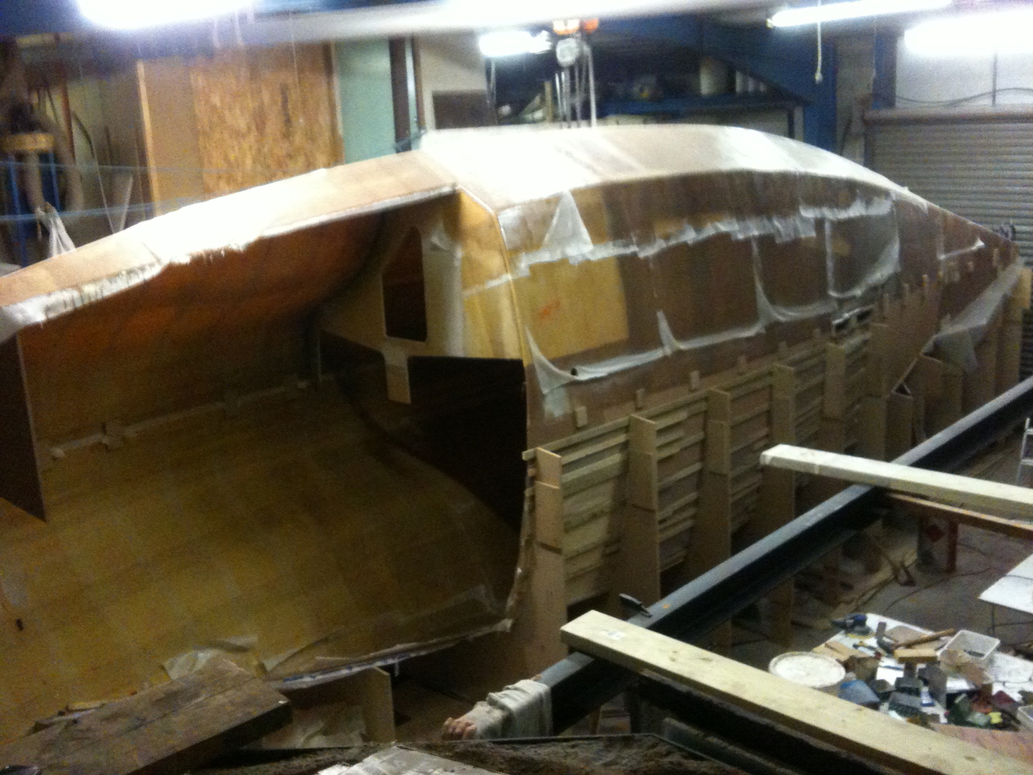 The main hull on it's side after putting the two sides together