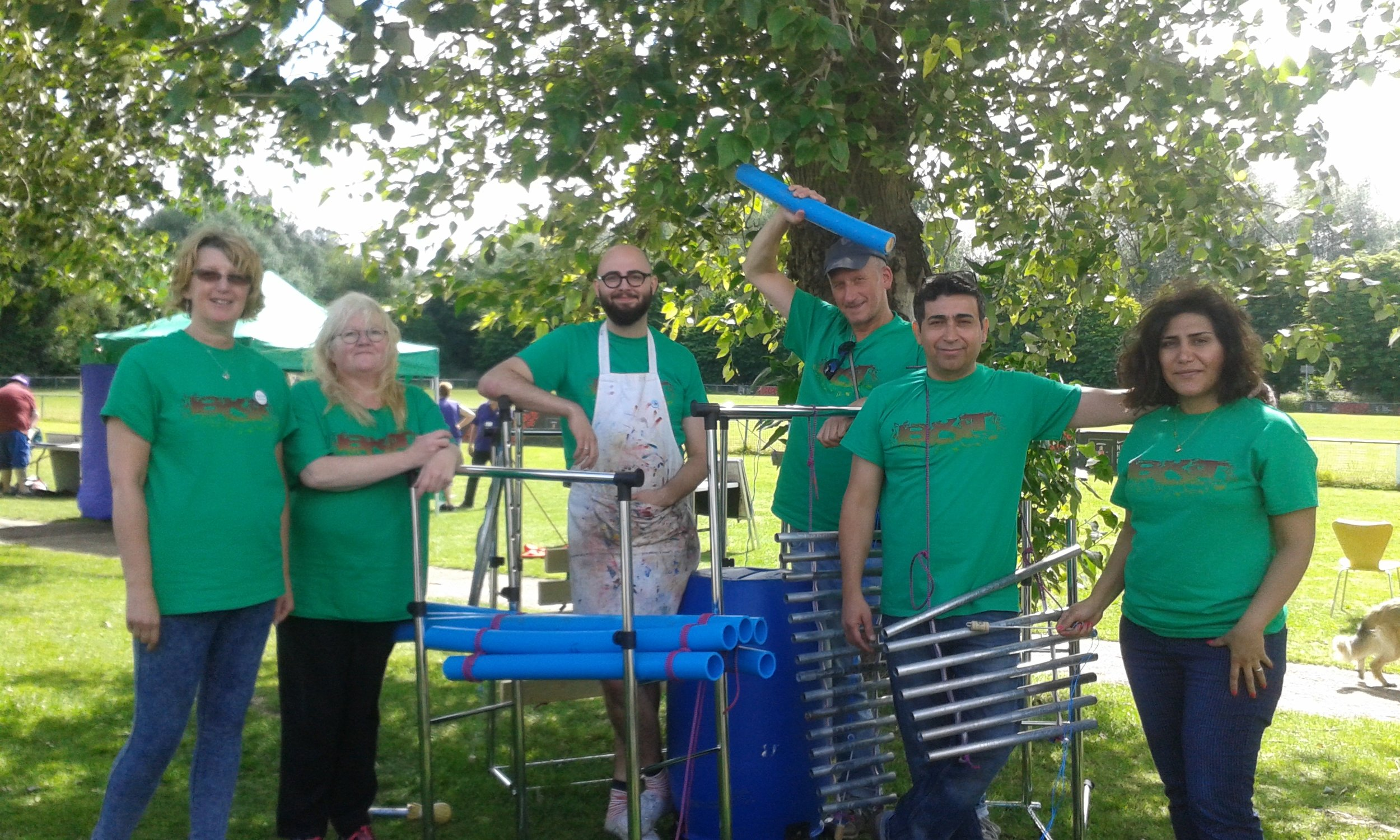 The Bensham & Teams art group with our sound sculpture