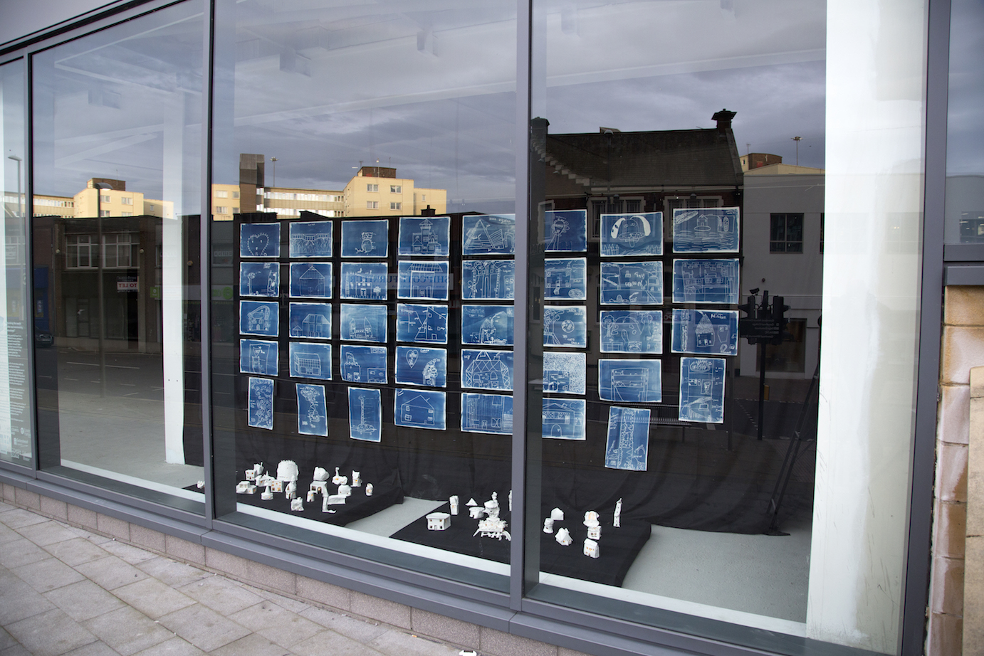 The final work on display in Gateshead town centre, each of the houses is fitted with an LED so it glows at night. This work was on display for 3 months in a vacant shop front, exhibited alongside Judith and I's work.