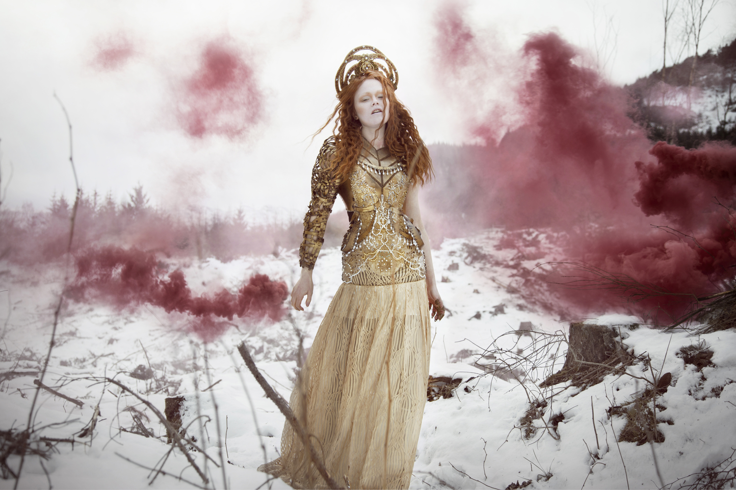 Fine Art Photography Scotland Edinburgh Couture Redhead Smokebomb
