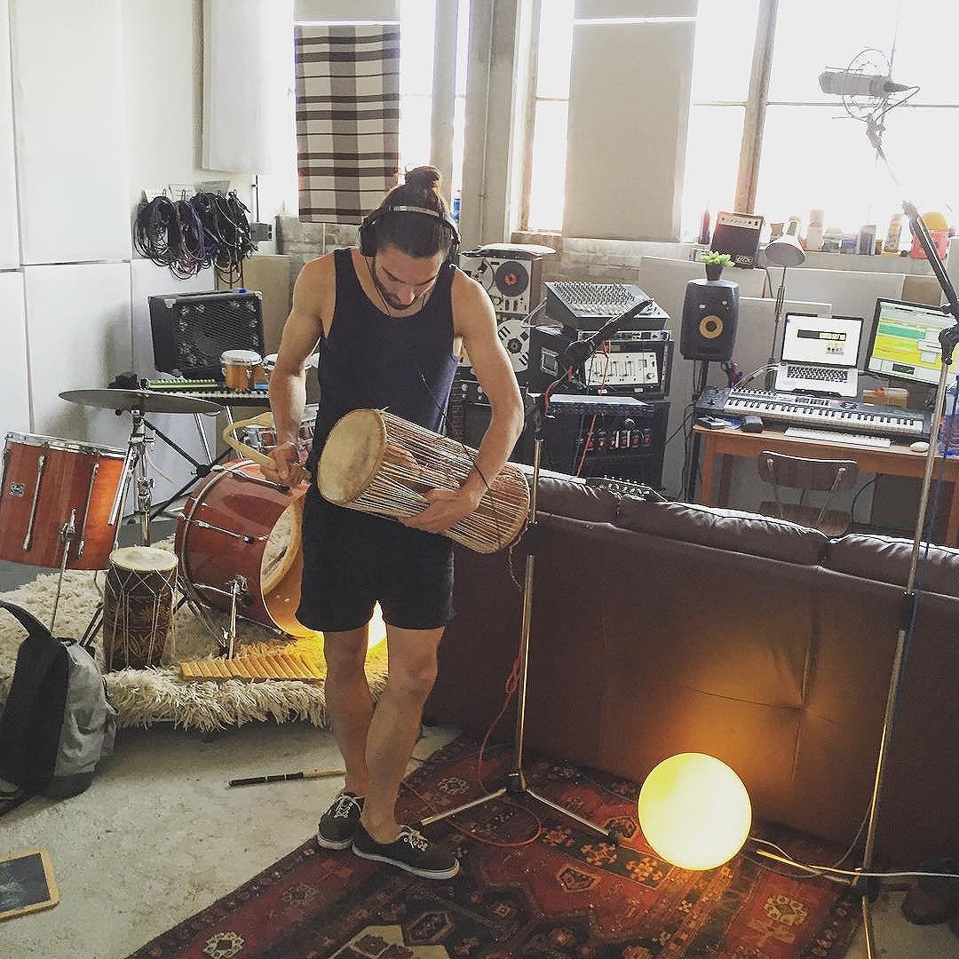 Recording talking drums for Nairobi Golf Kid at Studio Hagelslag