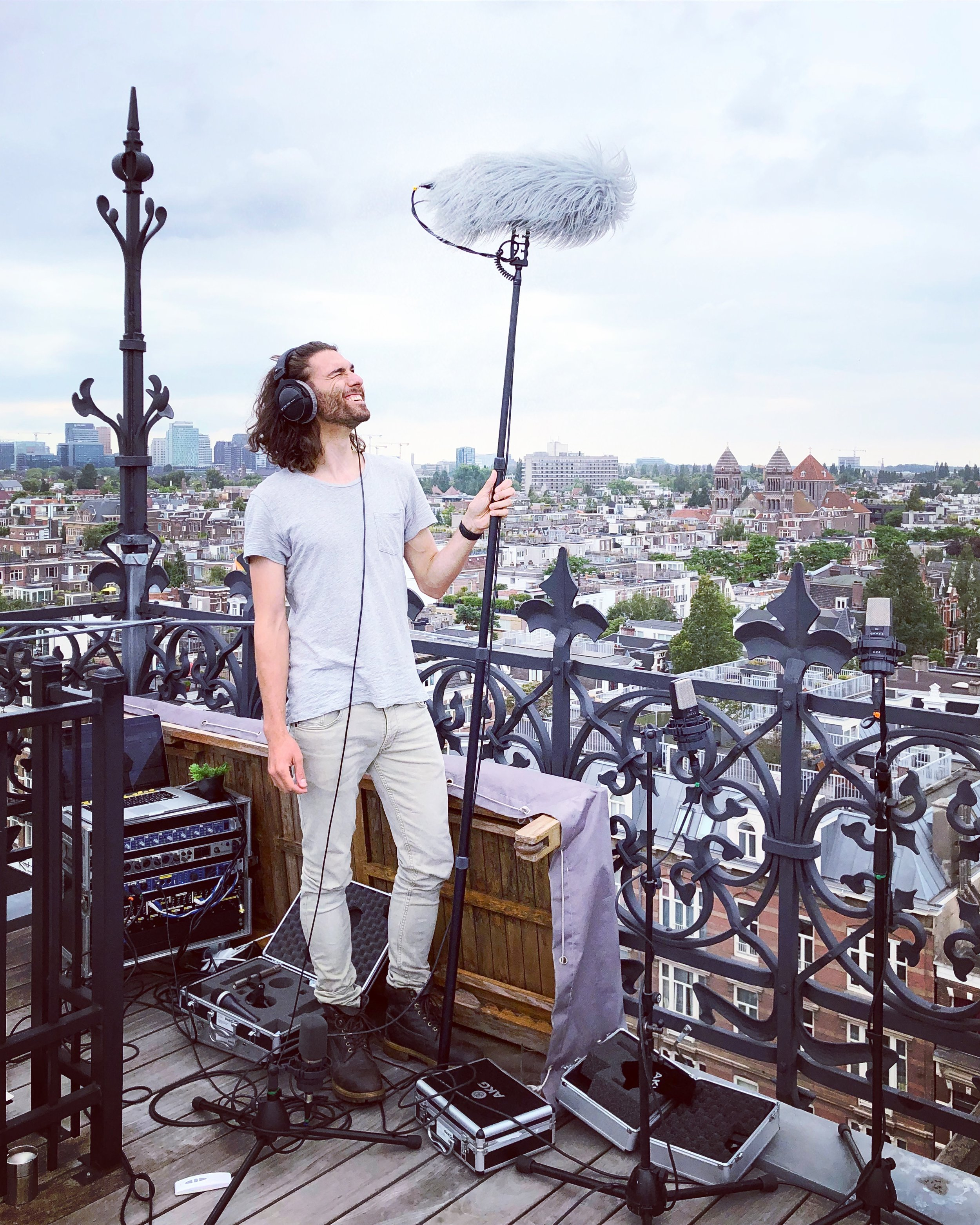 Rooftop recording session with the mobile recording set - at Het Conservatorium Hotel Amsterdam