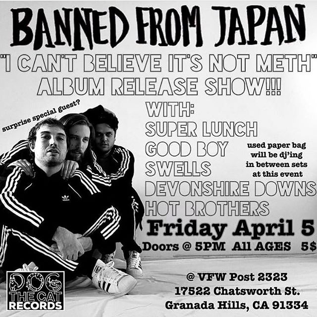 Today is the fucking day. @bannedfromjapan is officially one of the coolest bands in the world, and we're so honored to be playing their album release show. Listen to their album rn, it's out everywhere :) we play last
