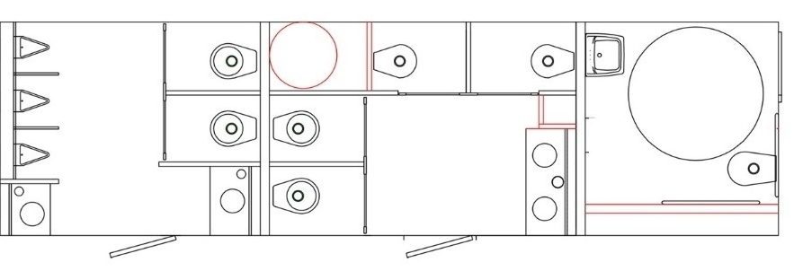 10 Stall Restroom Trailer Layout
