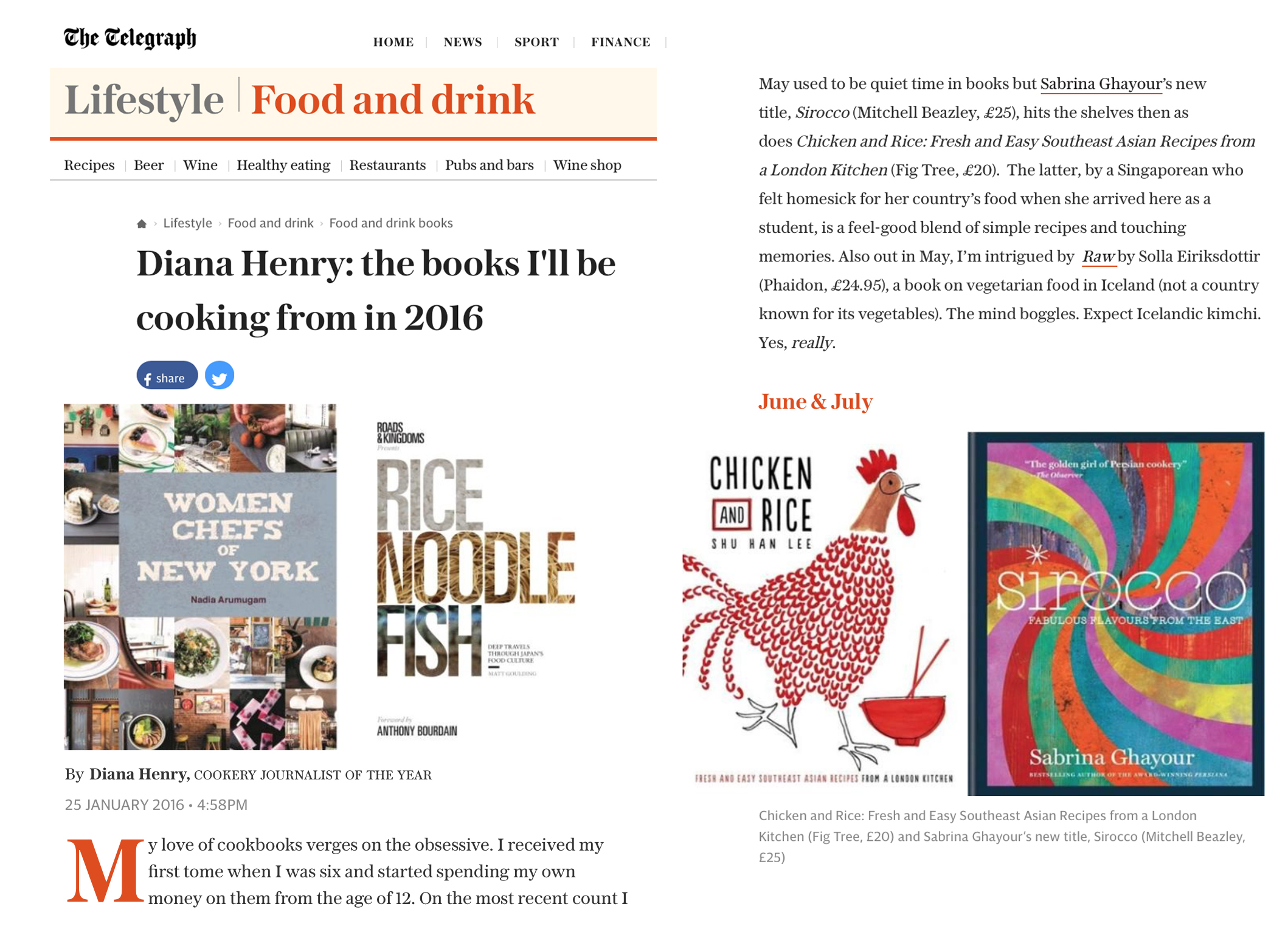 Telegraph: Cookbook feature (by Diana Henry), January 2016
