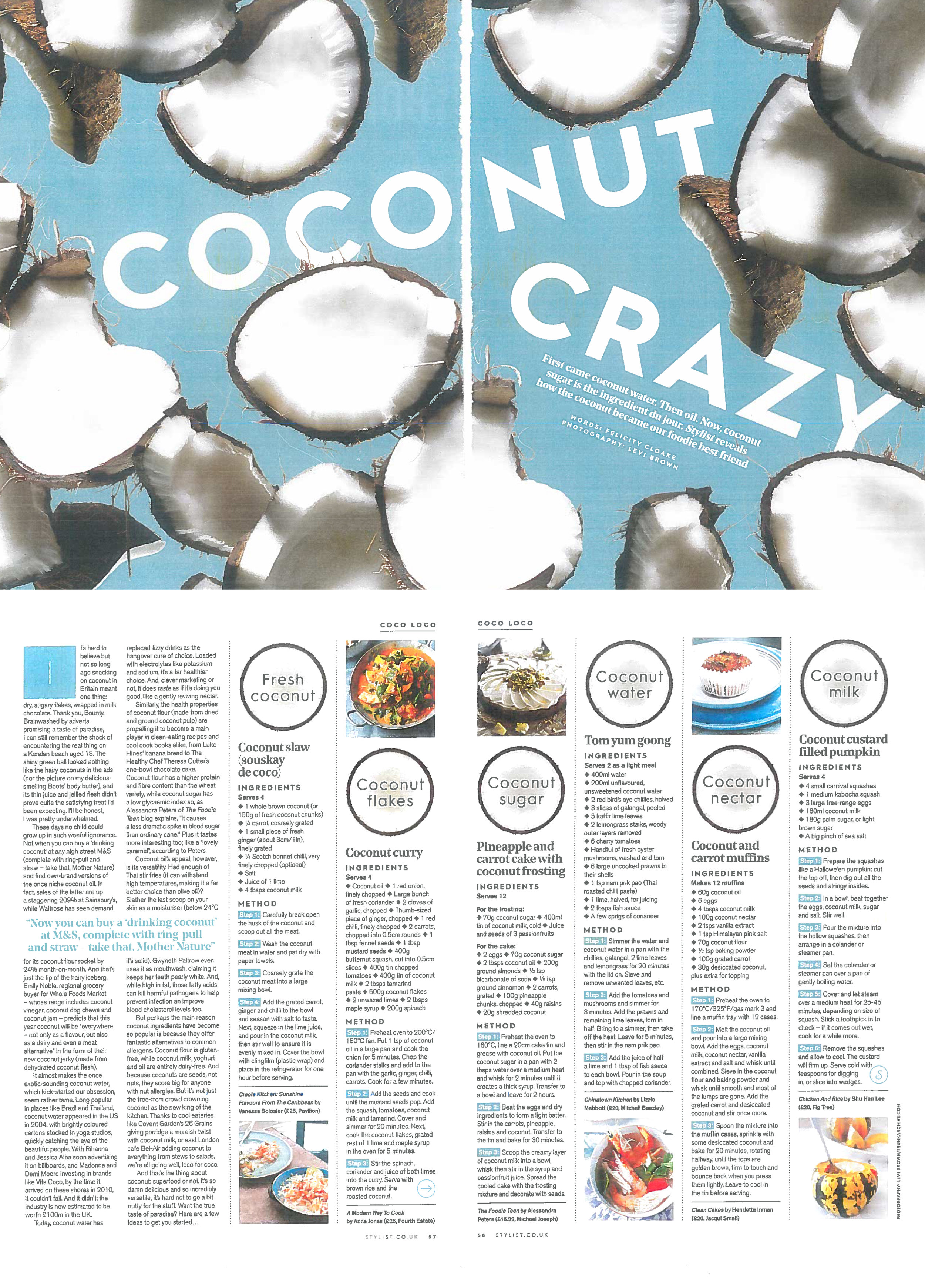 Stylist magazine: 'Coconut crazy' recipe feature (by Felicity Cloake), May 2016