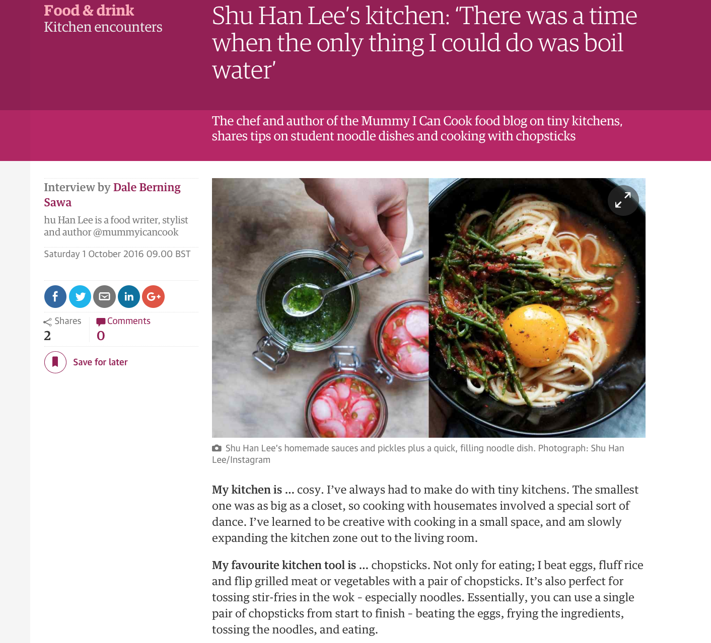The Guardian: Kitchen Encounters, October 2016
