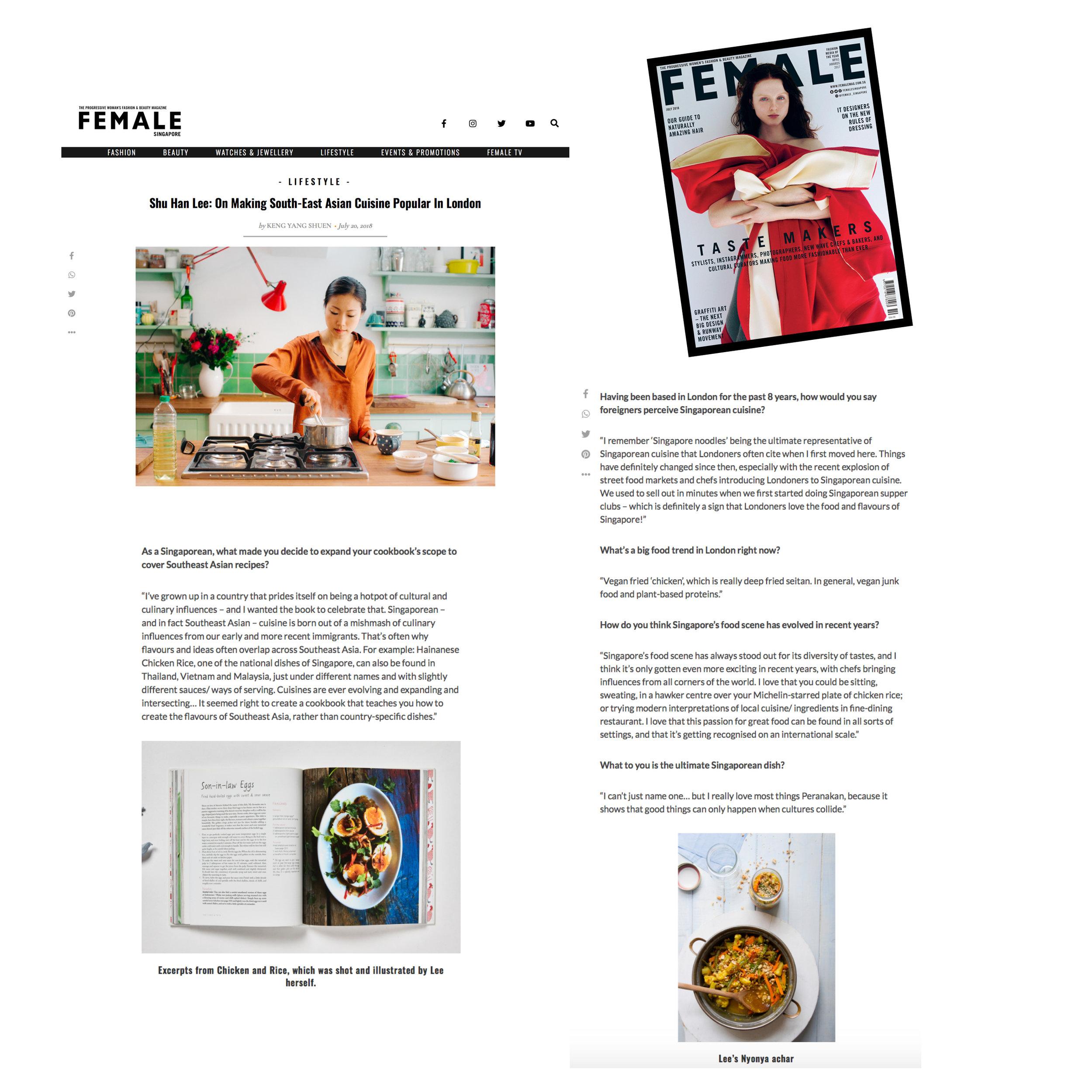 Female magazine (Singapore): Tastemakers, July 2018