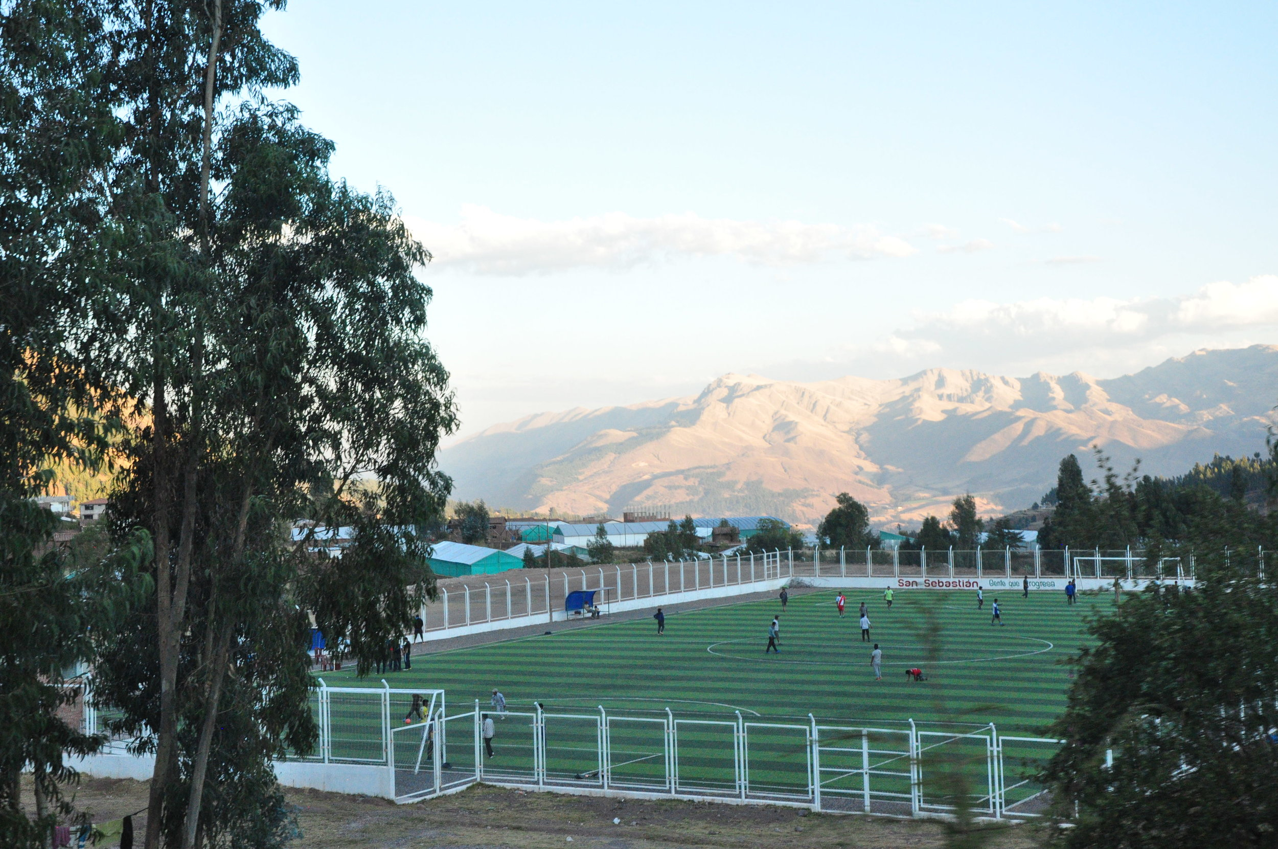 Soccer practice in Andes mountains