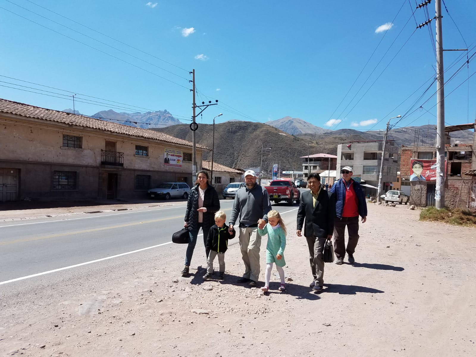 Walking to pastor Celestino's home for lunch after church.