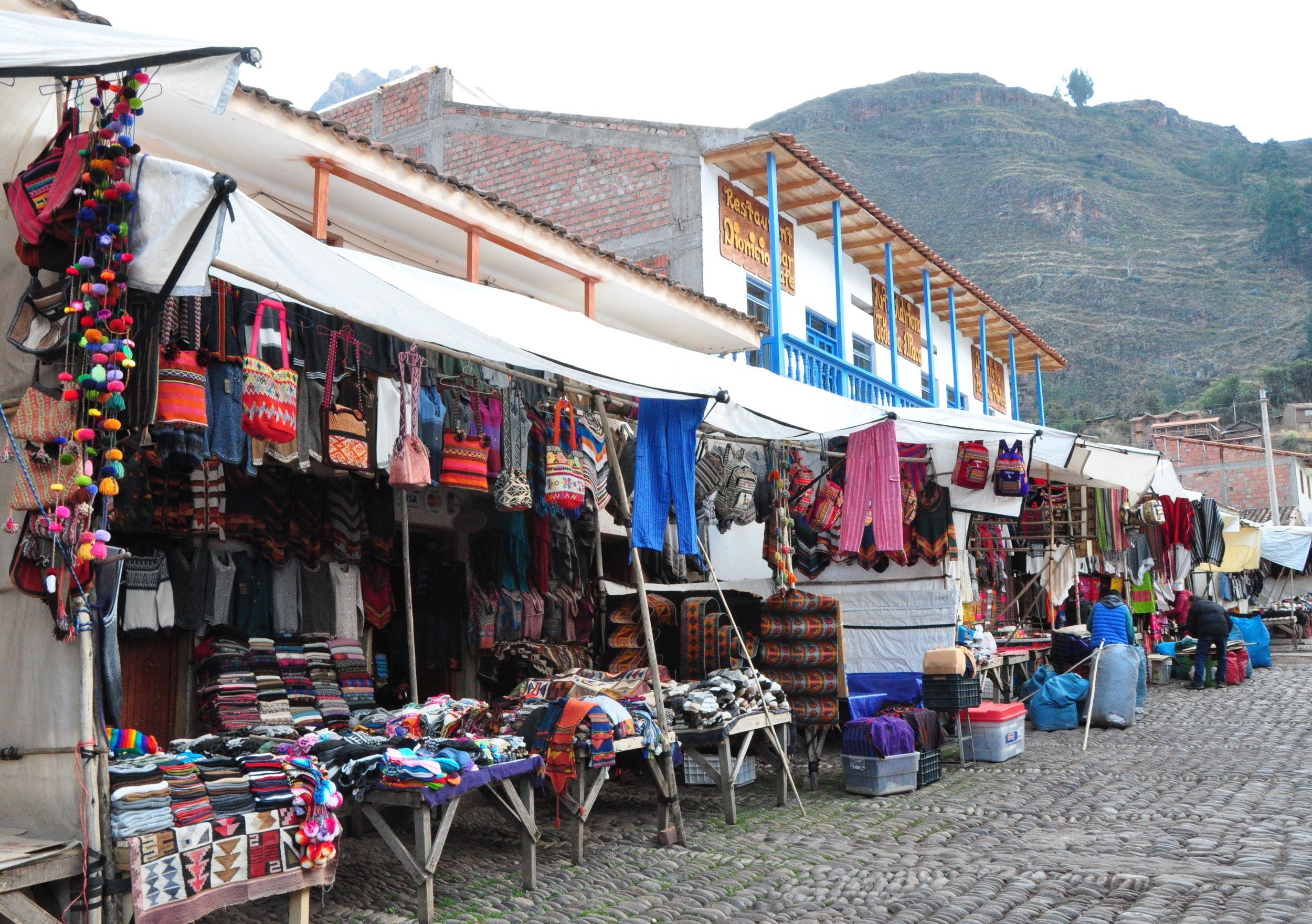 Market vendors setting up for the day
