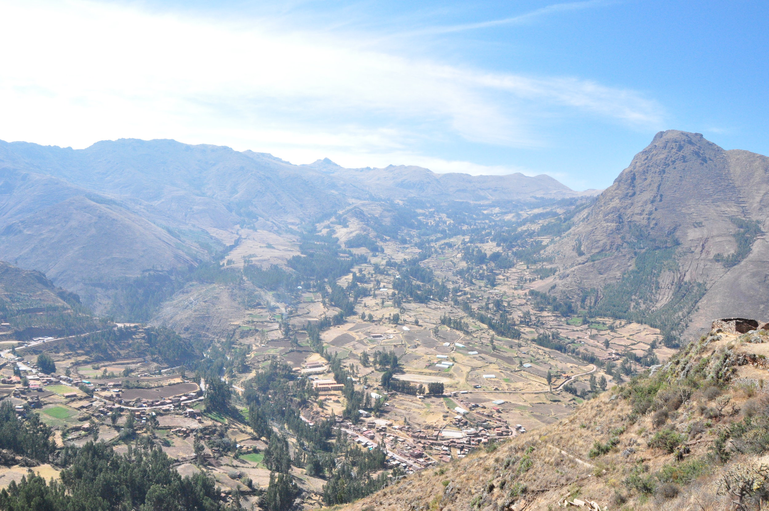 The start of a 5-mile hike overlooking the Sacred Valley of the Incas