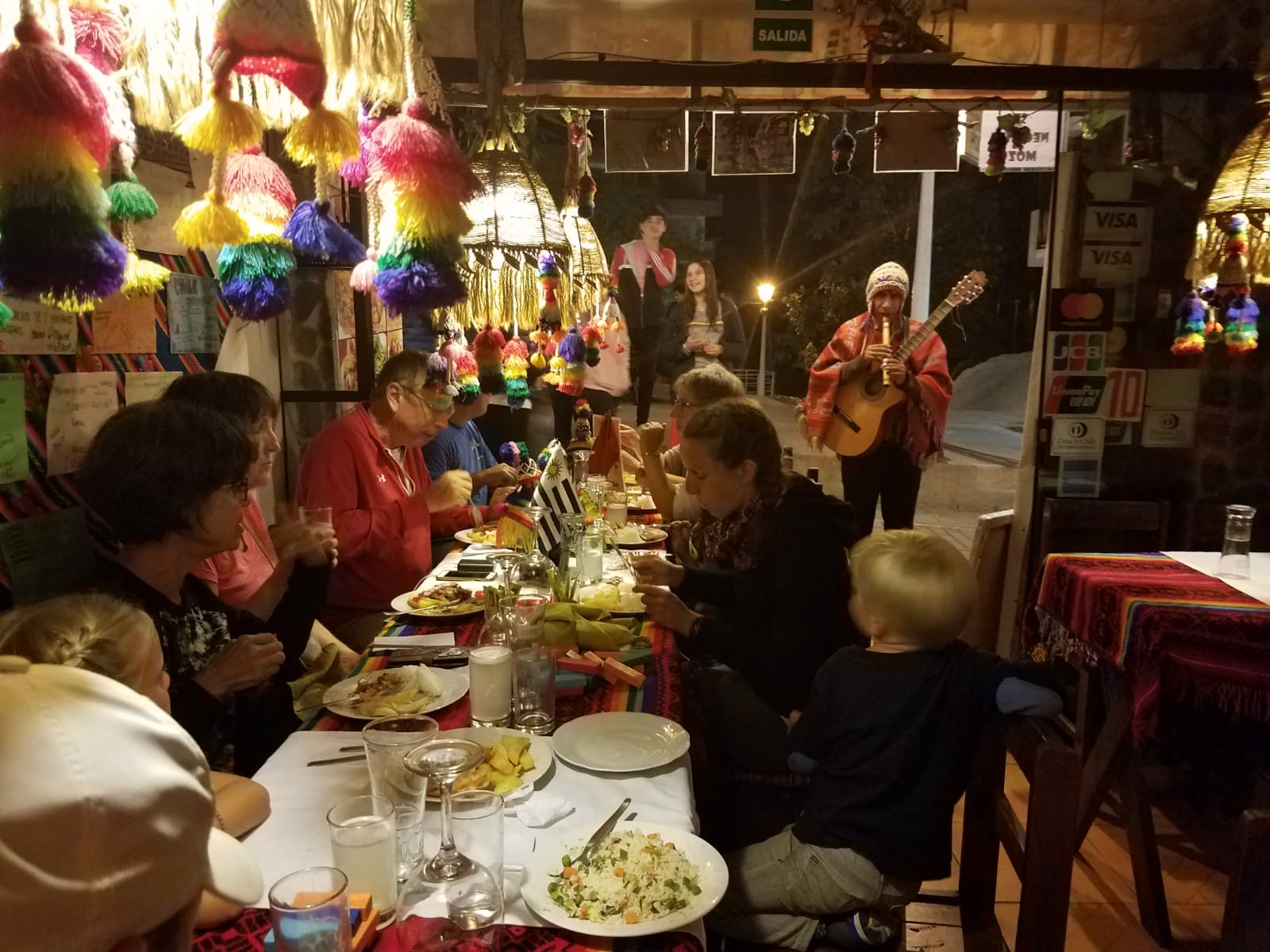 A late dinner at Aguas Calientes after getting Edie's boots back
