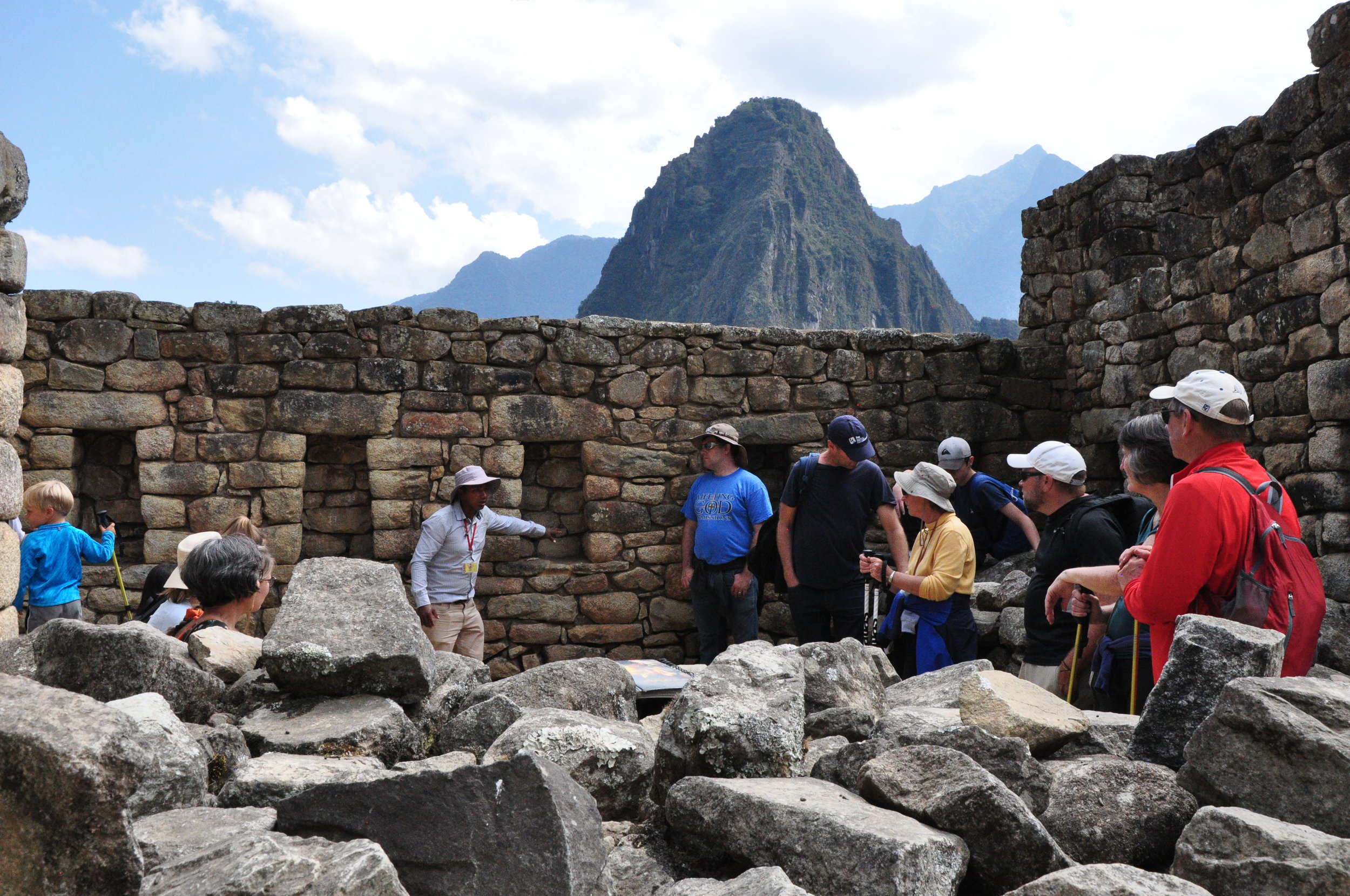 Inside Machu Picchu with our tour guide
