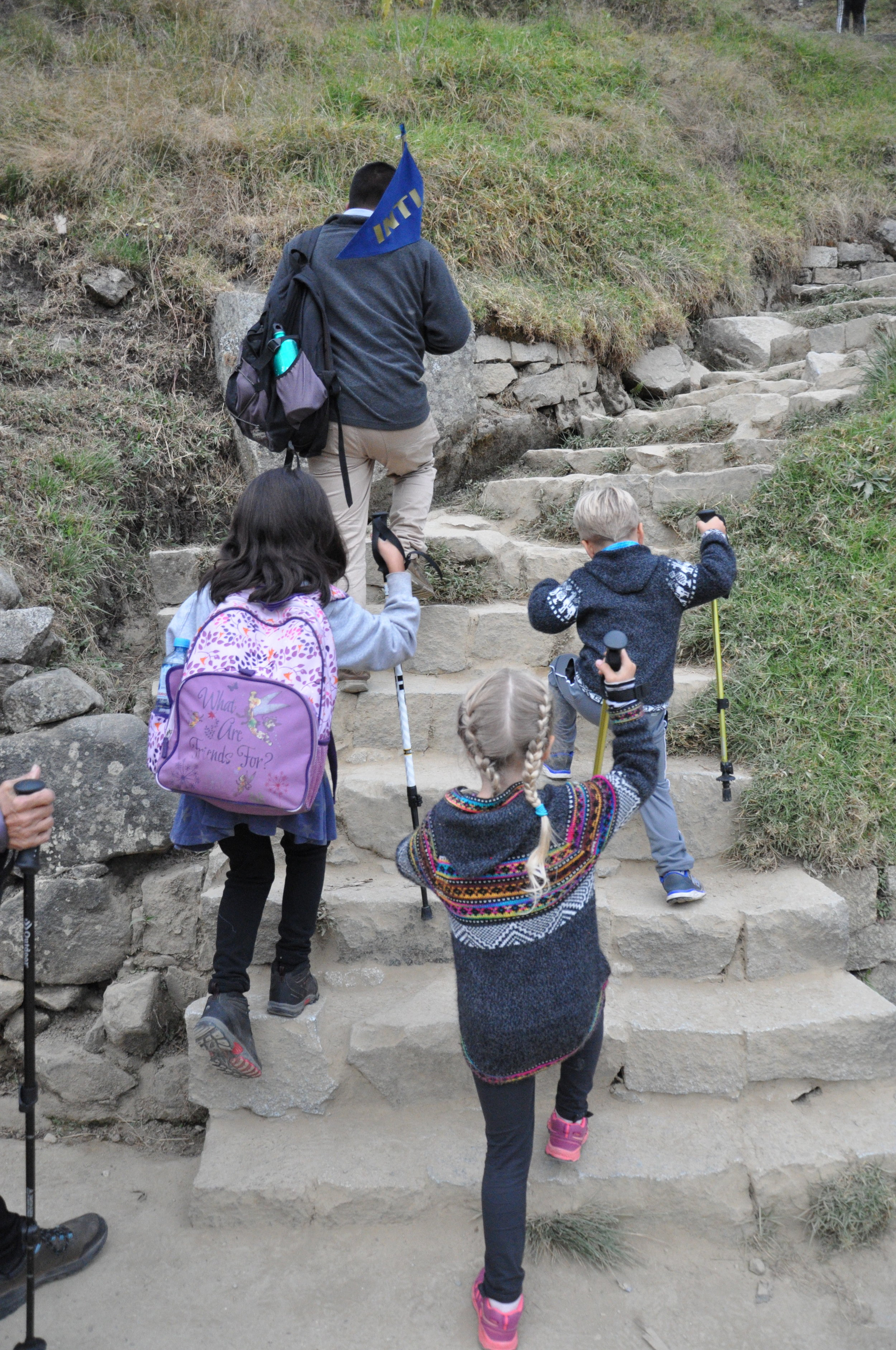 Hiking an Inca trail overlooking Machu PIcchu