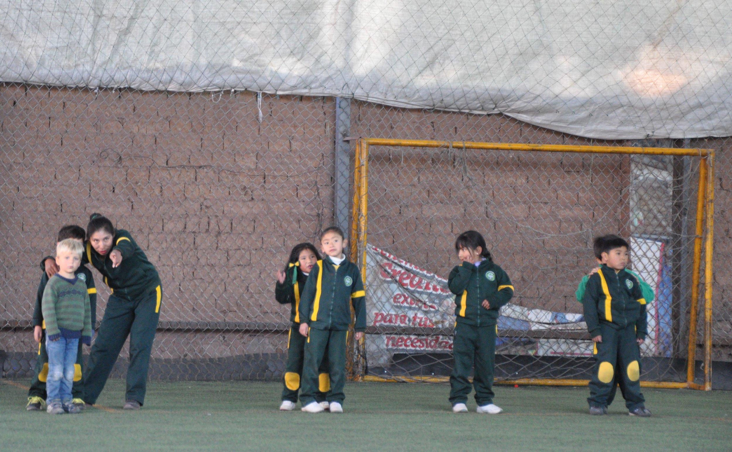 Kindergarten preparing for soccer