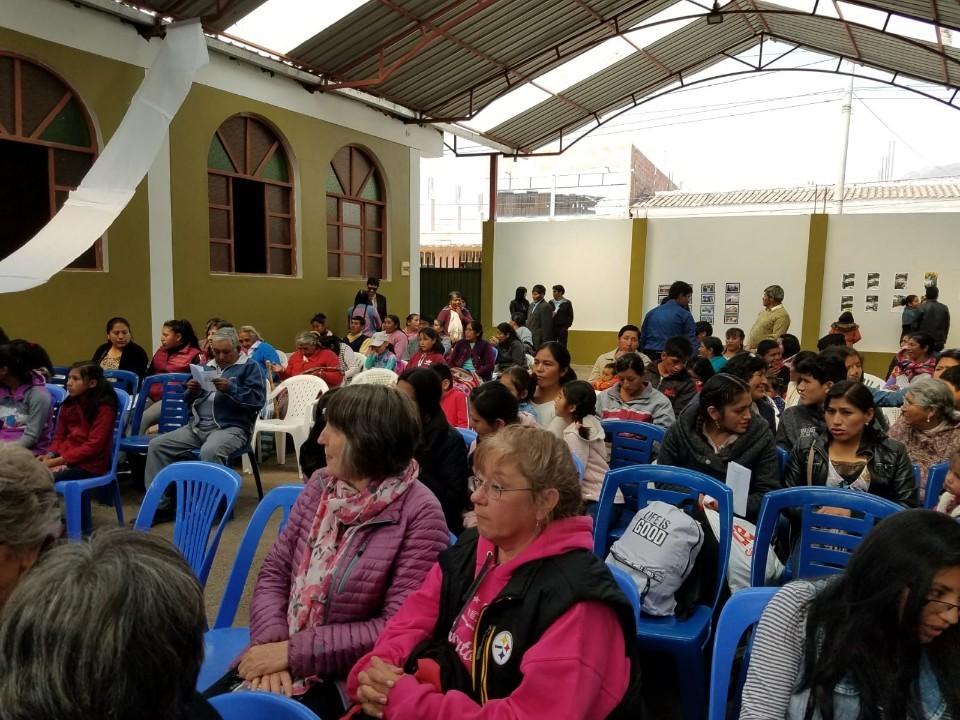Church members arriving