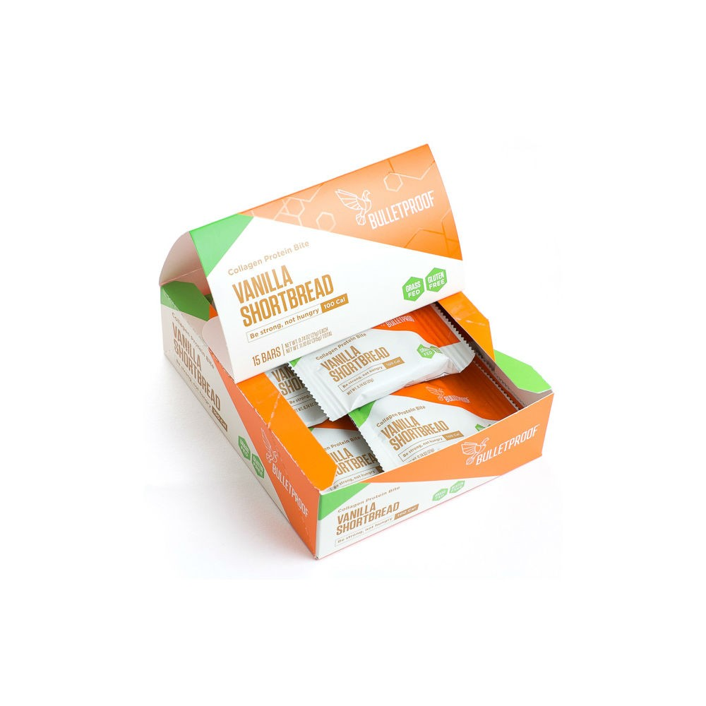 Vanilla Shortbread collagen protein bite (15 pck)  -Quality fat from brain octane oil and xct oil to keep you full and focused -collagen from grass-fed cows -gluten free