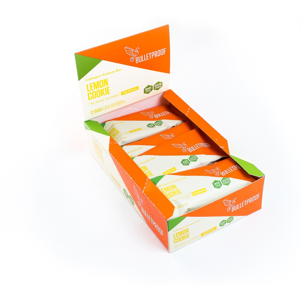Lemon cookie collagen protein bars (12 pck)  -Quality fat from brain octane oil and xct oil to keep you full and focused -collagen from grass-fed cows -gluten free
