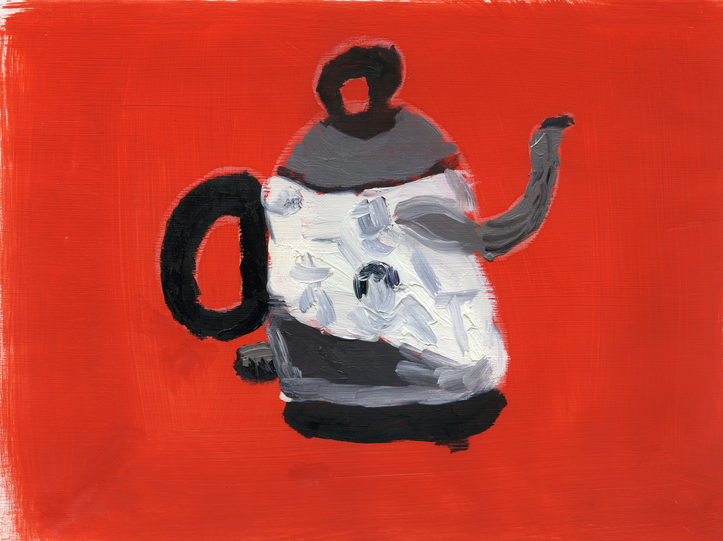 """Tea Pot"" (after Morandi), oil on paper"