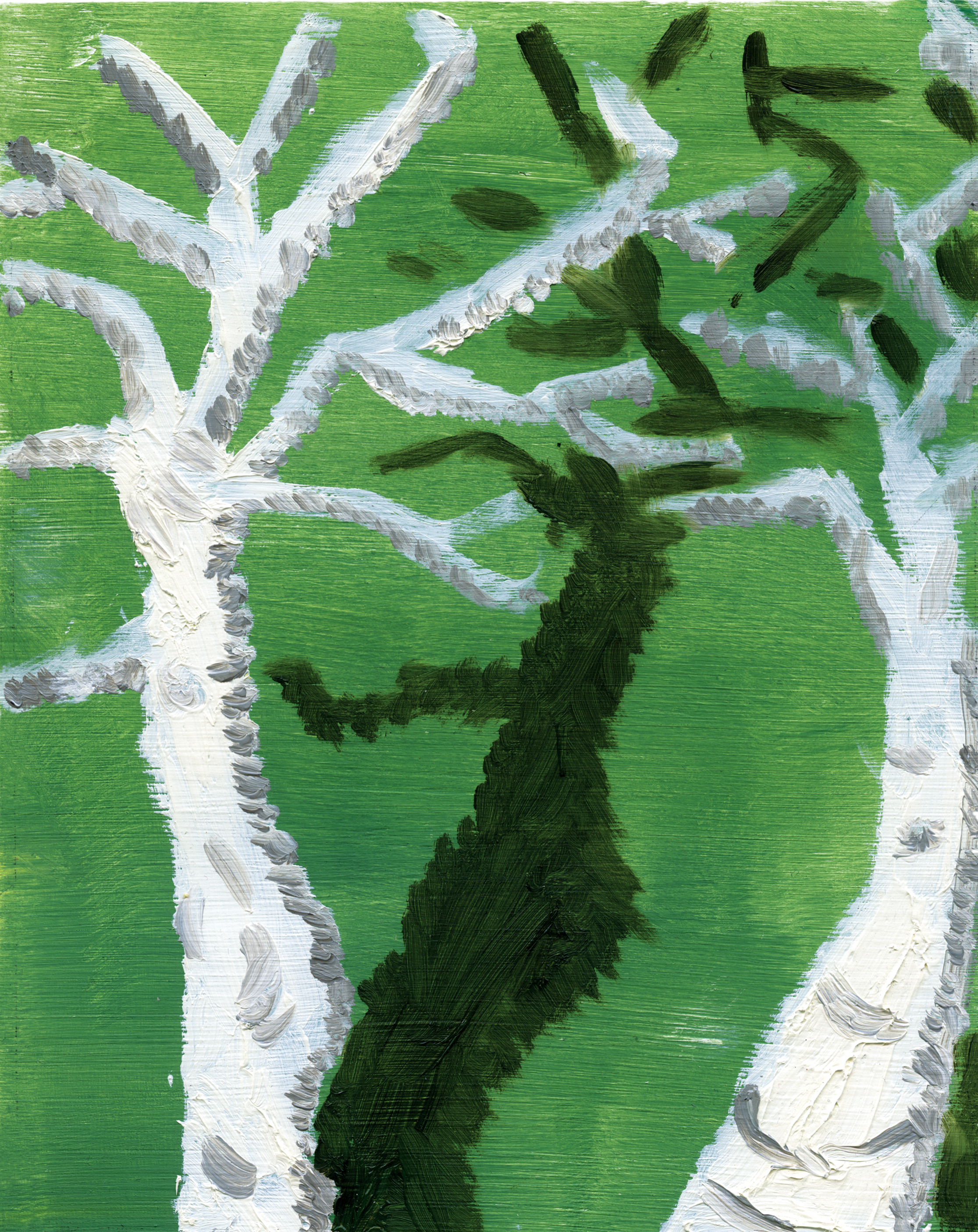 """Birch Trees,"" oil on paper"