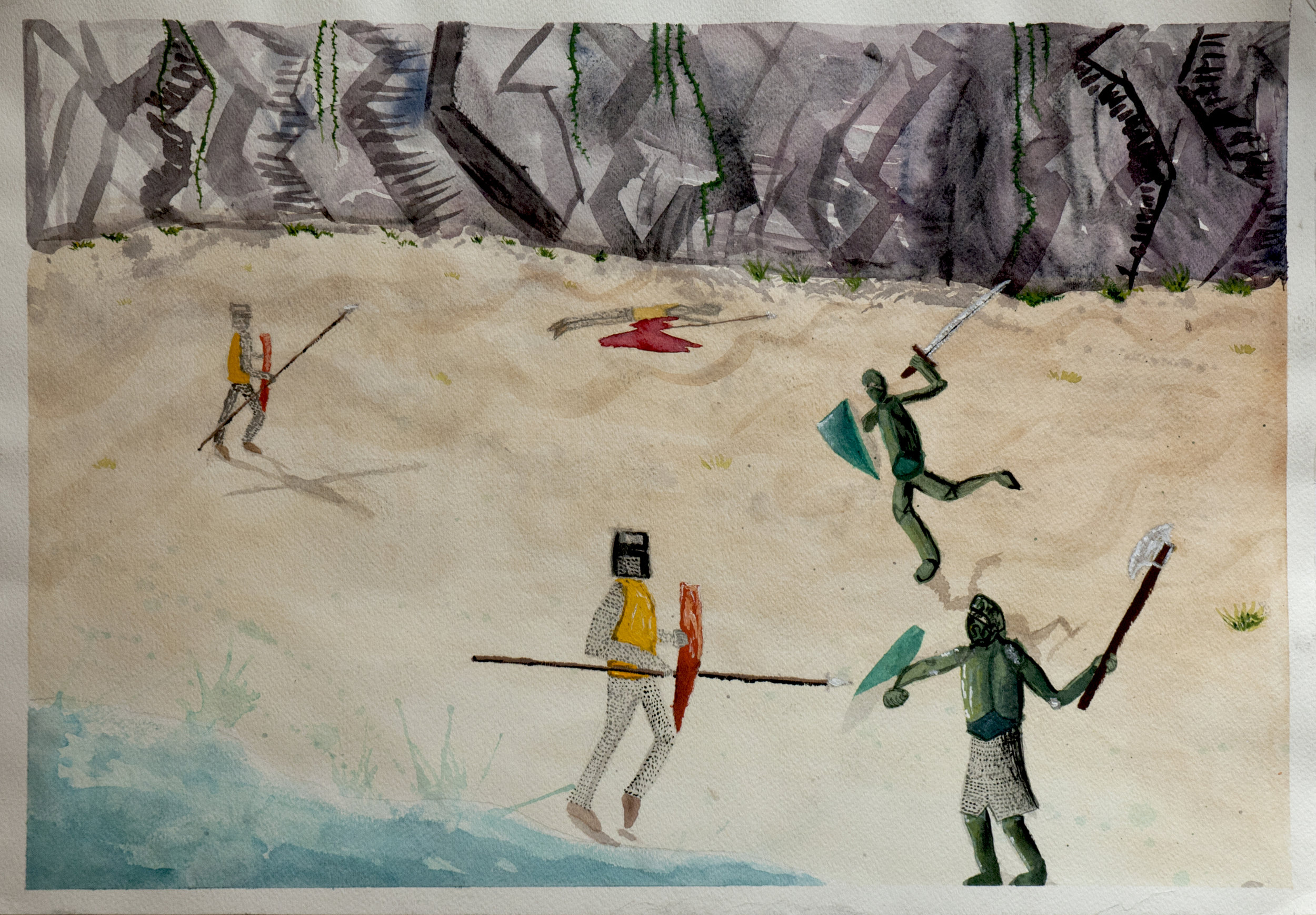 "Battle on the Beach / 22"" tall x 30"" wide, gouache on paper"