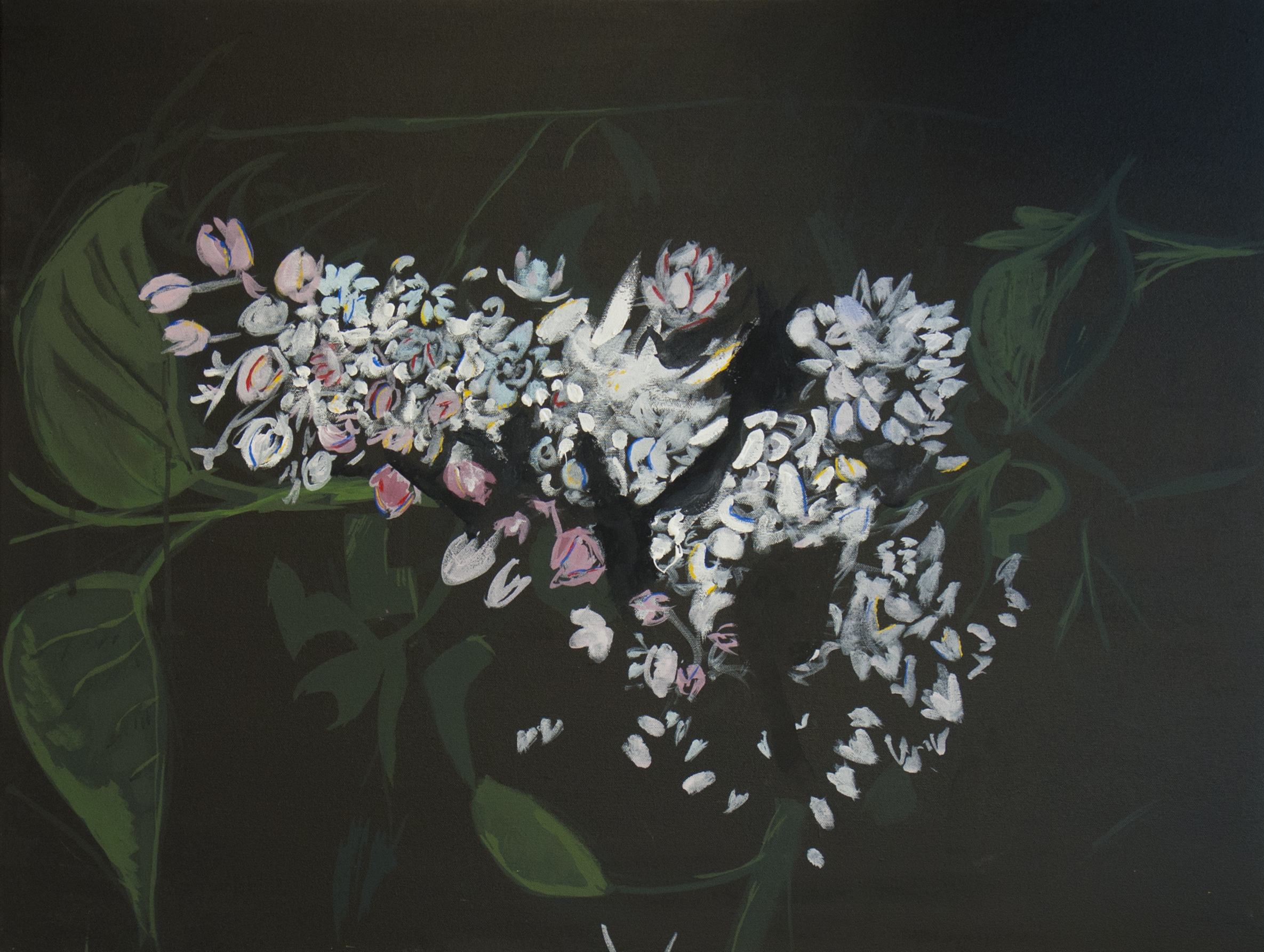 "Lilacs at Night / 26"" tall x 32"" wide, gouache on stretched canvas"