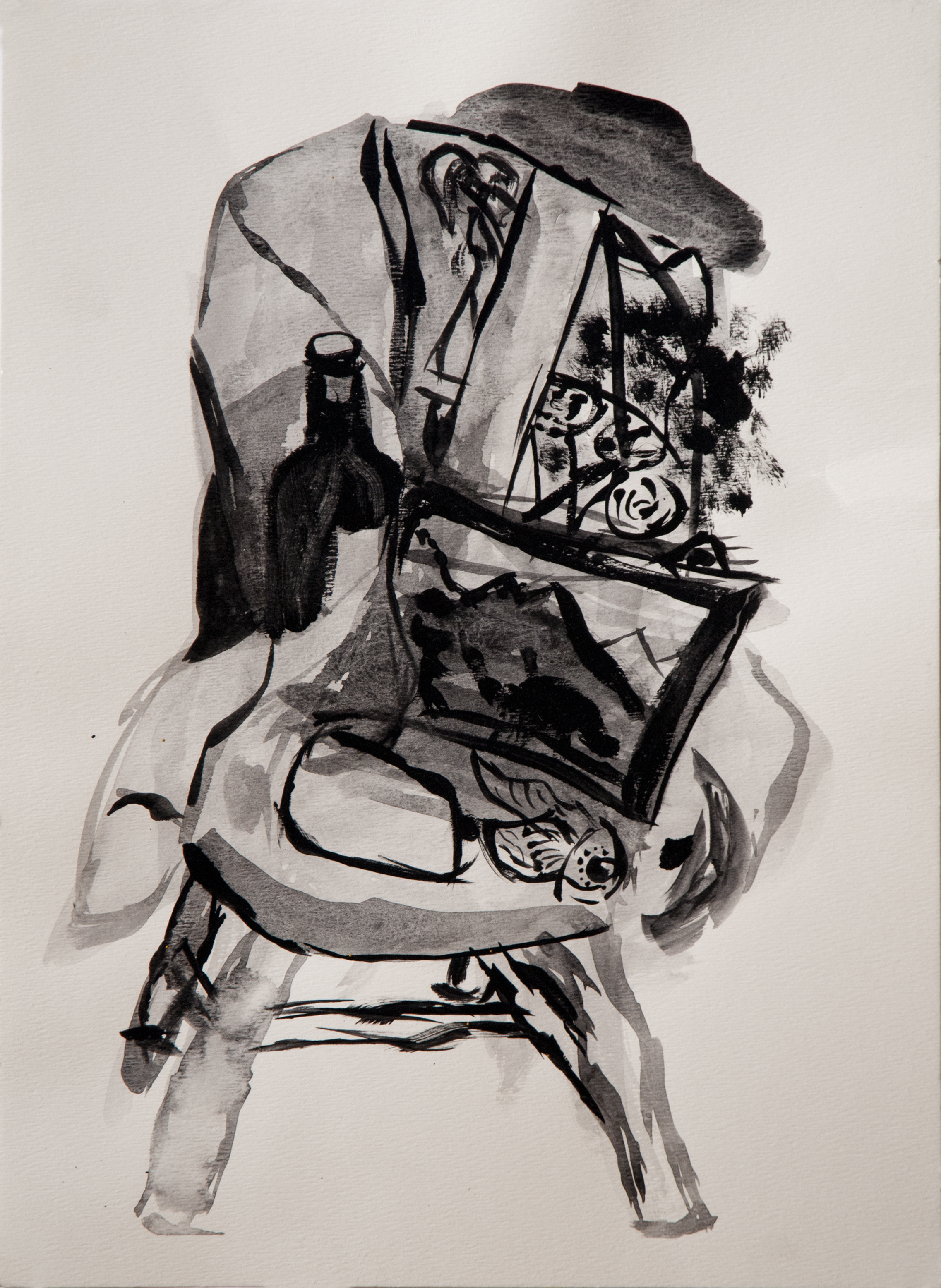 "(Study for) Still Life with Wine / 30"" tall x 22"" wide, gouache on paper"