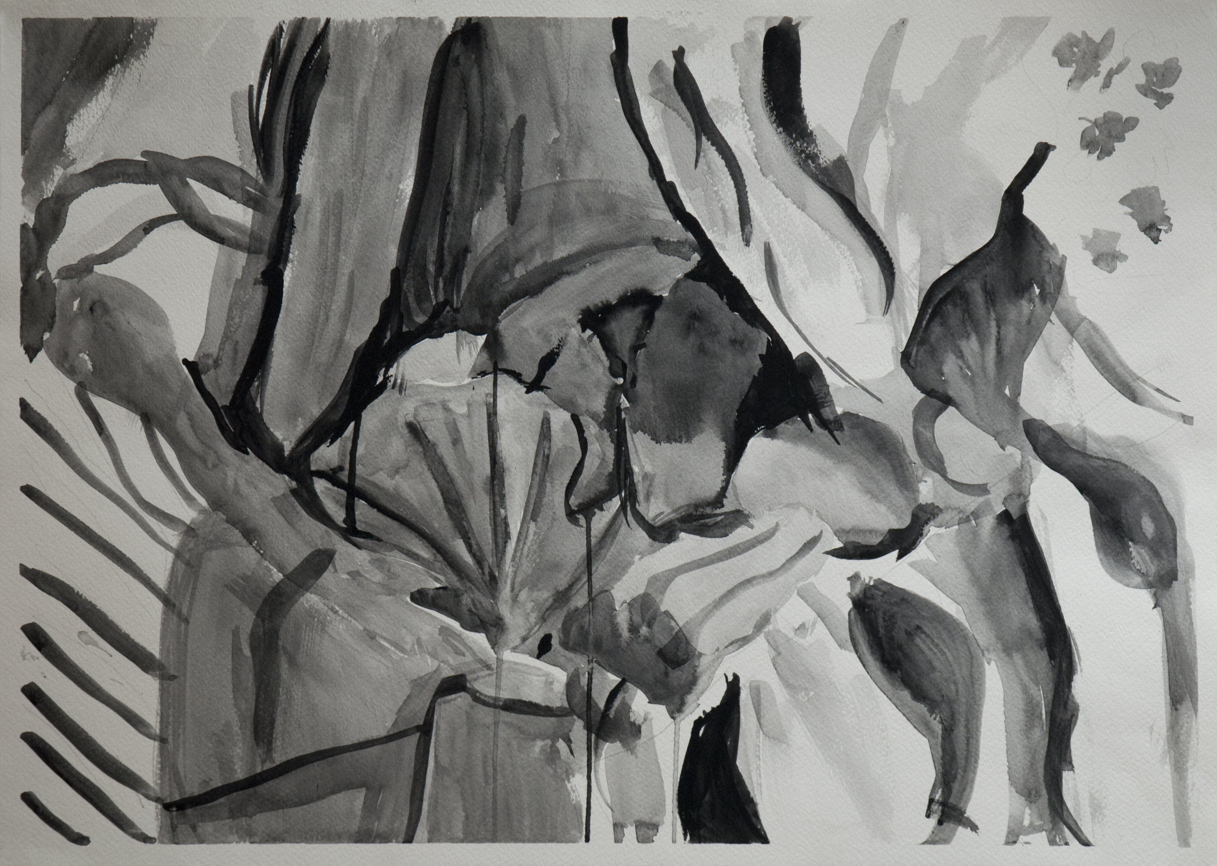 "(Study for) Still Life with Shell / 22"" tall x 30"" wide, gouache on paper"