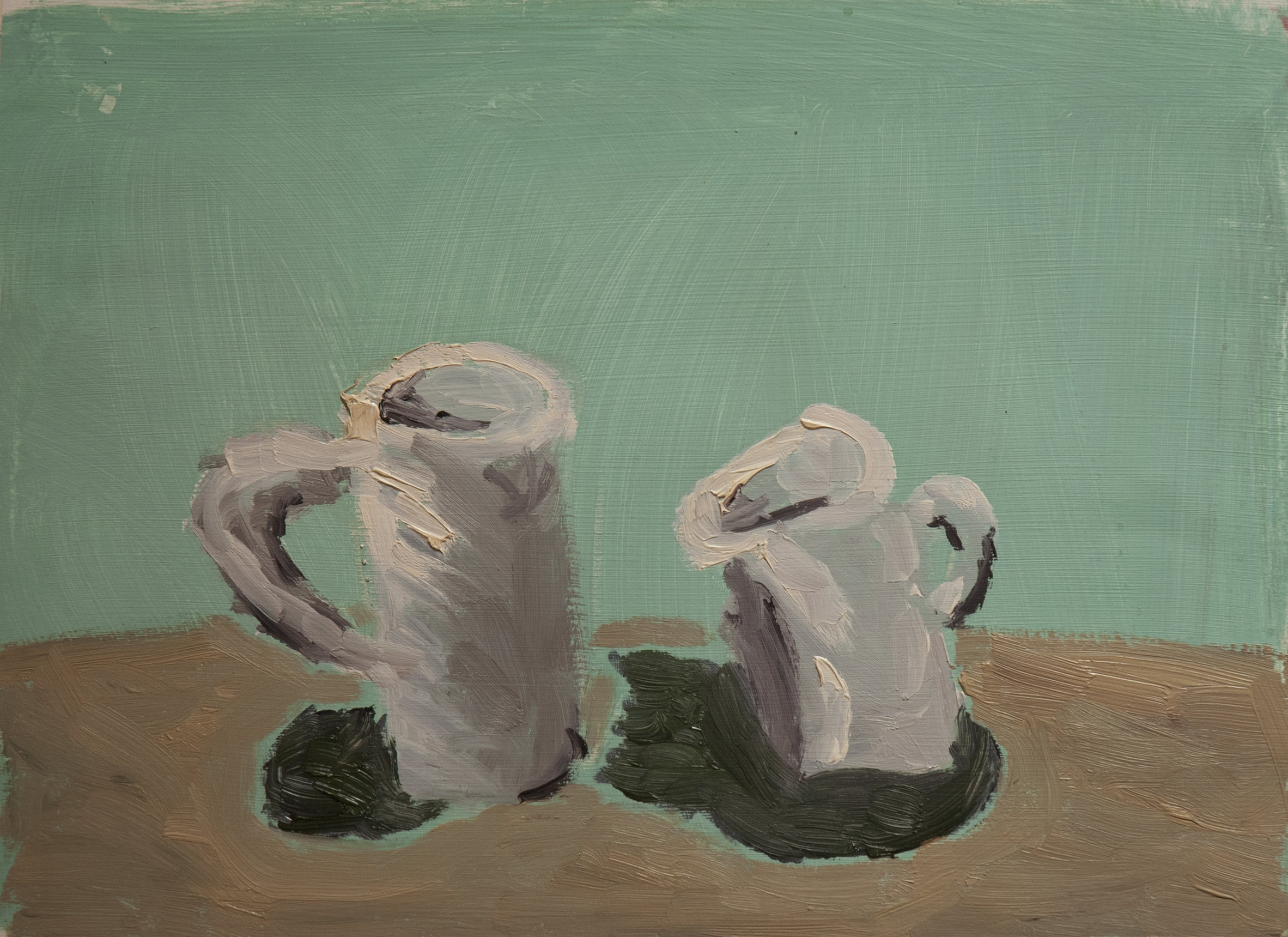 """Mugs"" (after Morandi), oil on paper"