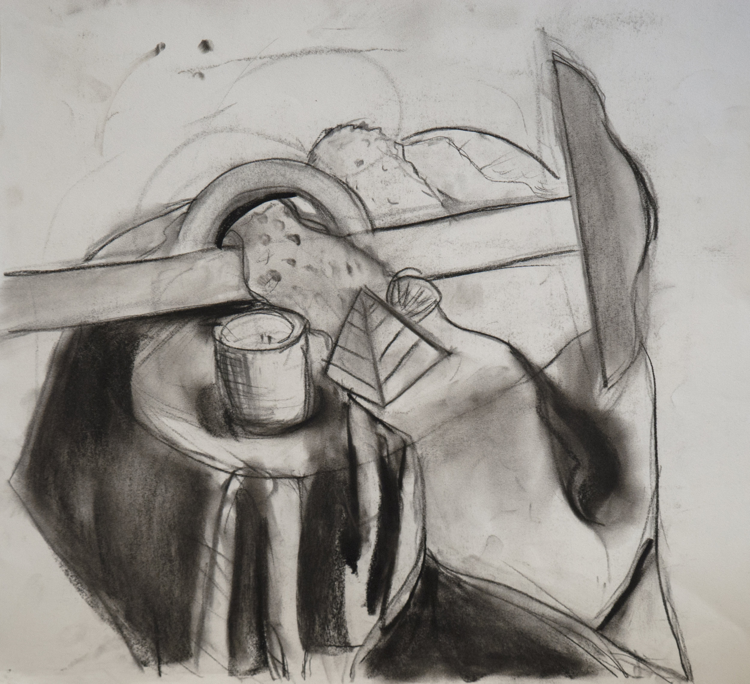 "Still Life with Candle / 22""tall x 22""wide, charcoal on paper"