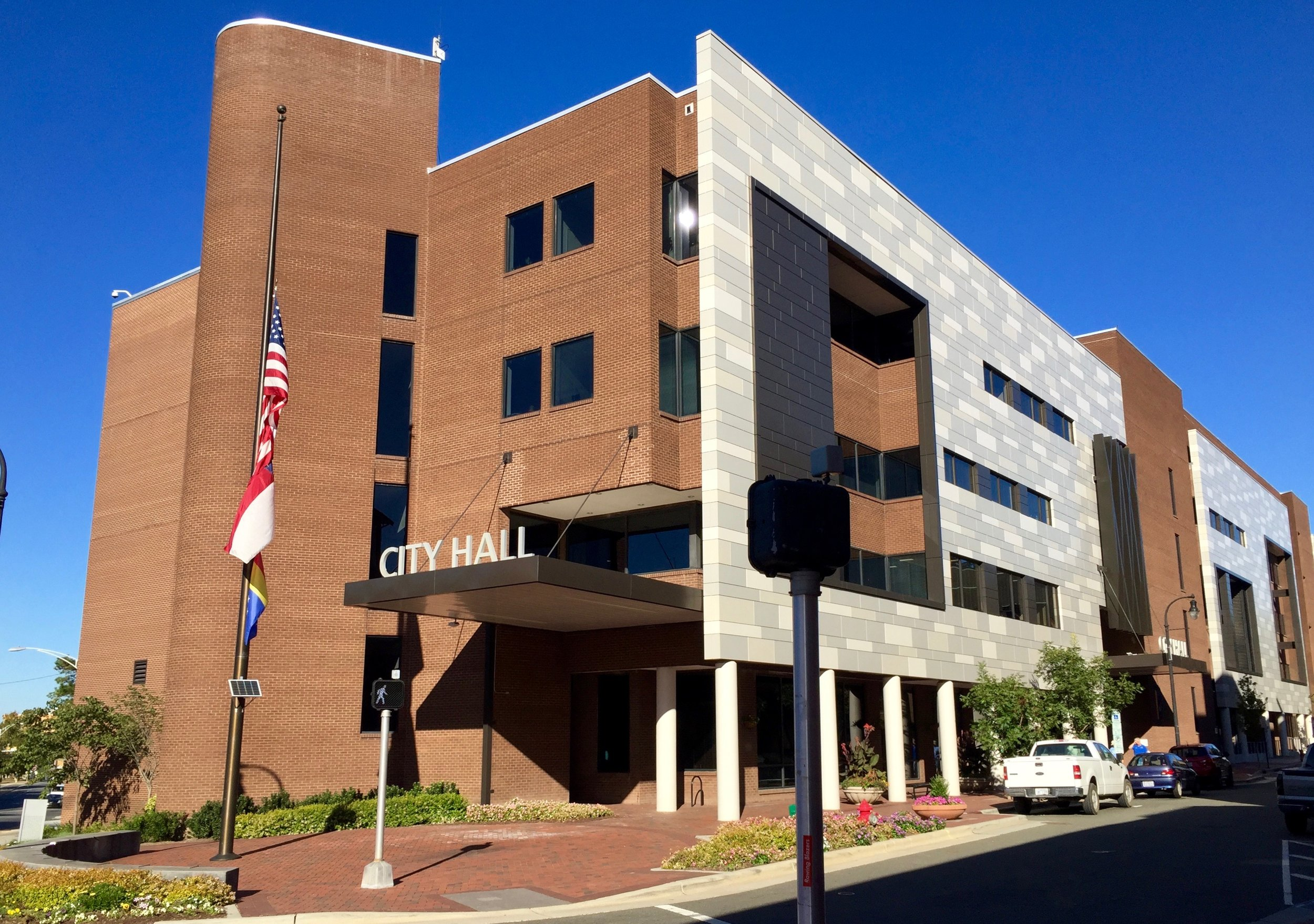 City Hall, located at 101 City Hall Plaza in downtown Durham, is home to the office of the Mayor, among other governmental offices and agencies. Photo by Kyle Sherard.