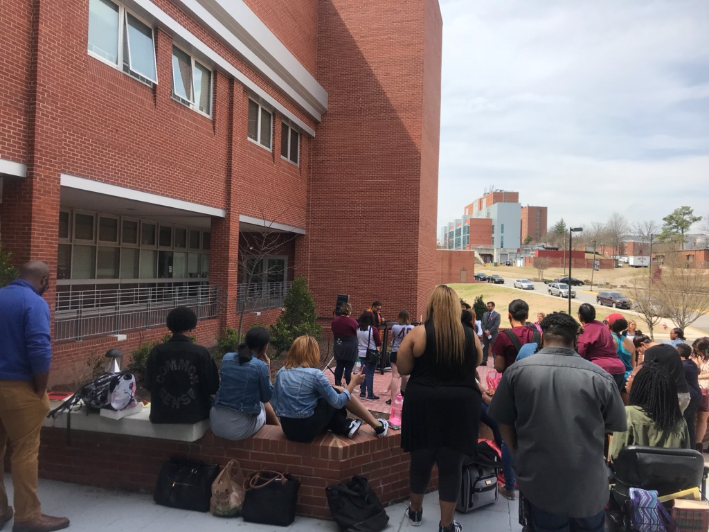 Students protesting the speech of Dr. Alveda King outside North Carolina Central University School of Law. Photo by Dean Lisa Morgan.