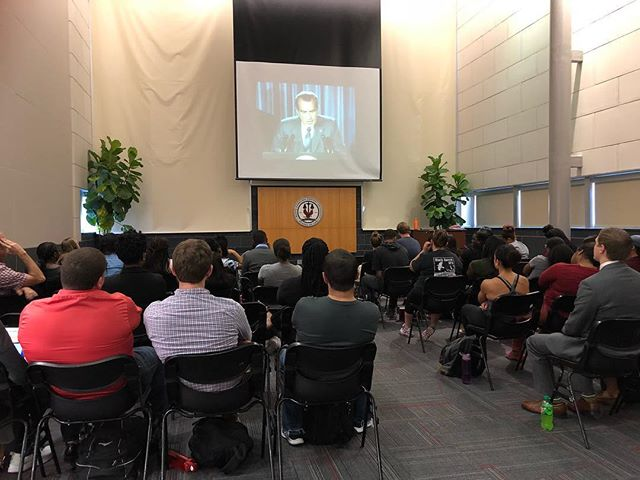 """Students are currently gathered in the great hall for a screening of Ava DuVernay's documentary 13th which """"explores the history of racial inequality in the United States, focusing on the fact that the nation's prisons are disproportionately filled with African-Americans."""" #nccu #legaleagle #durhammaroons 🦅"""