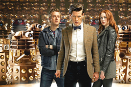 Rory, The Doctor and Amy with the Dalek's.