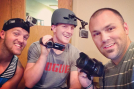 Some former campers (now leaders) showing off some of the equipment we use to capture camp.
