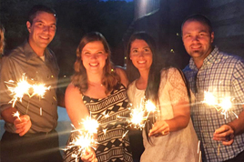 My wife and I with Katelyn (2nd from right) and Ross (left) at their rehearsal dinner.